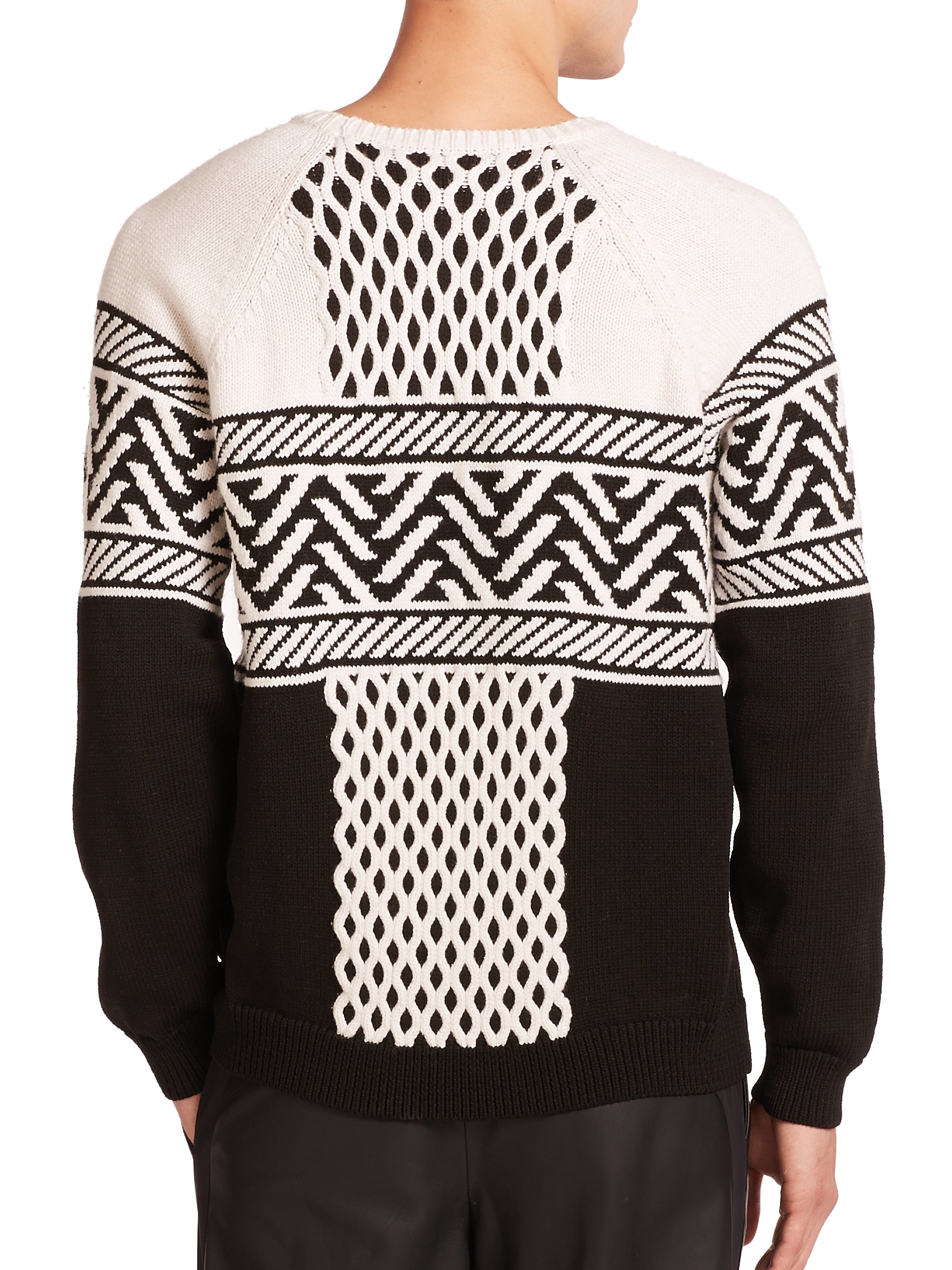 Alexander wang Cable Fairisle Sweater in White for Men | Lyst