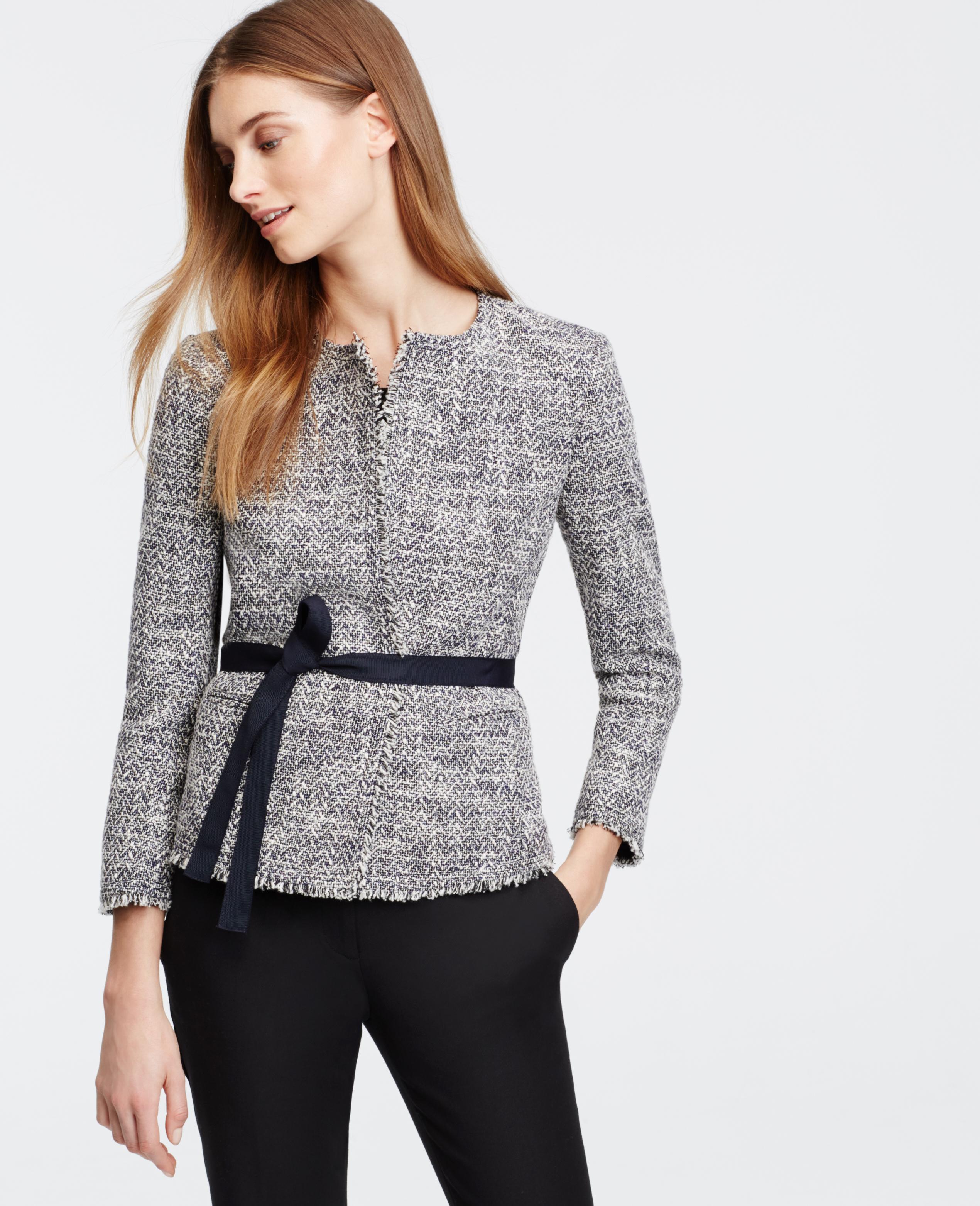 Ann taylor Belted Tweed Jacket in Blue | Lyst