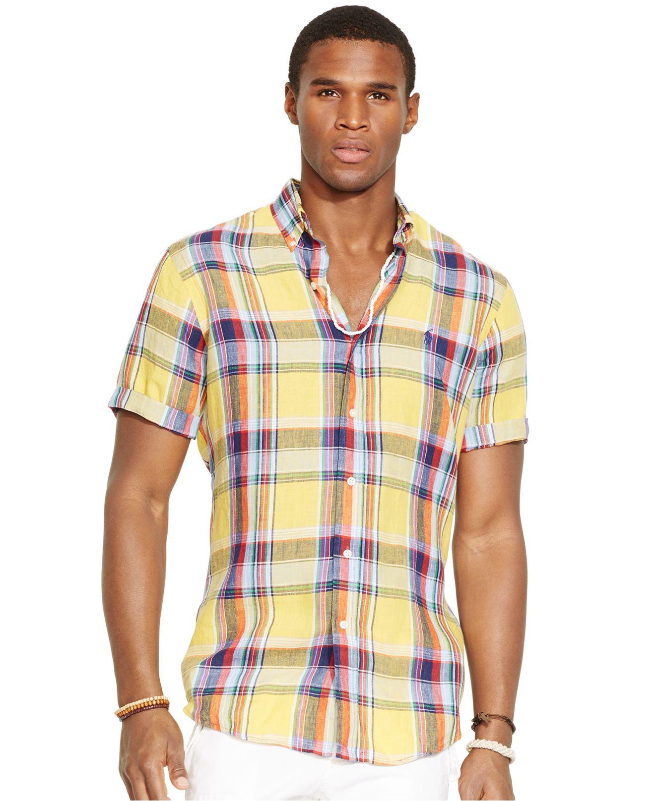 Polo ralph lauren short sleeved plaid linen shirt in Short sleeve plaid shirts