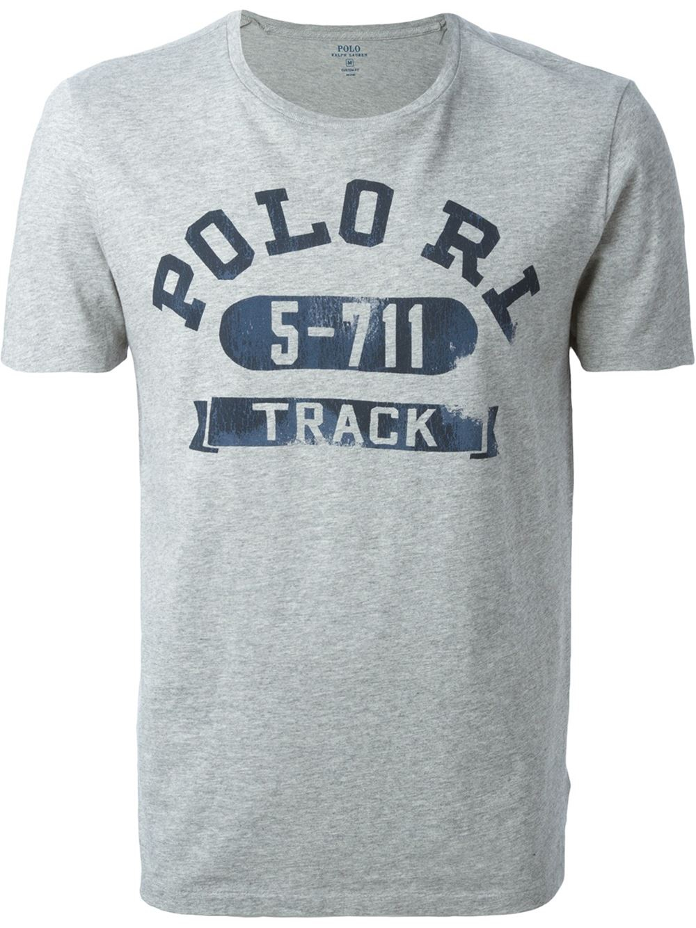 Polo ralph lauren embroidered logo t shirt in gray for men for Embroidered logos on shirts
