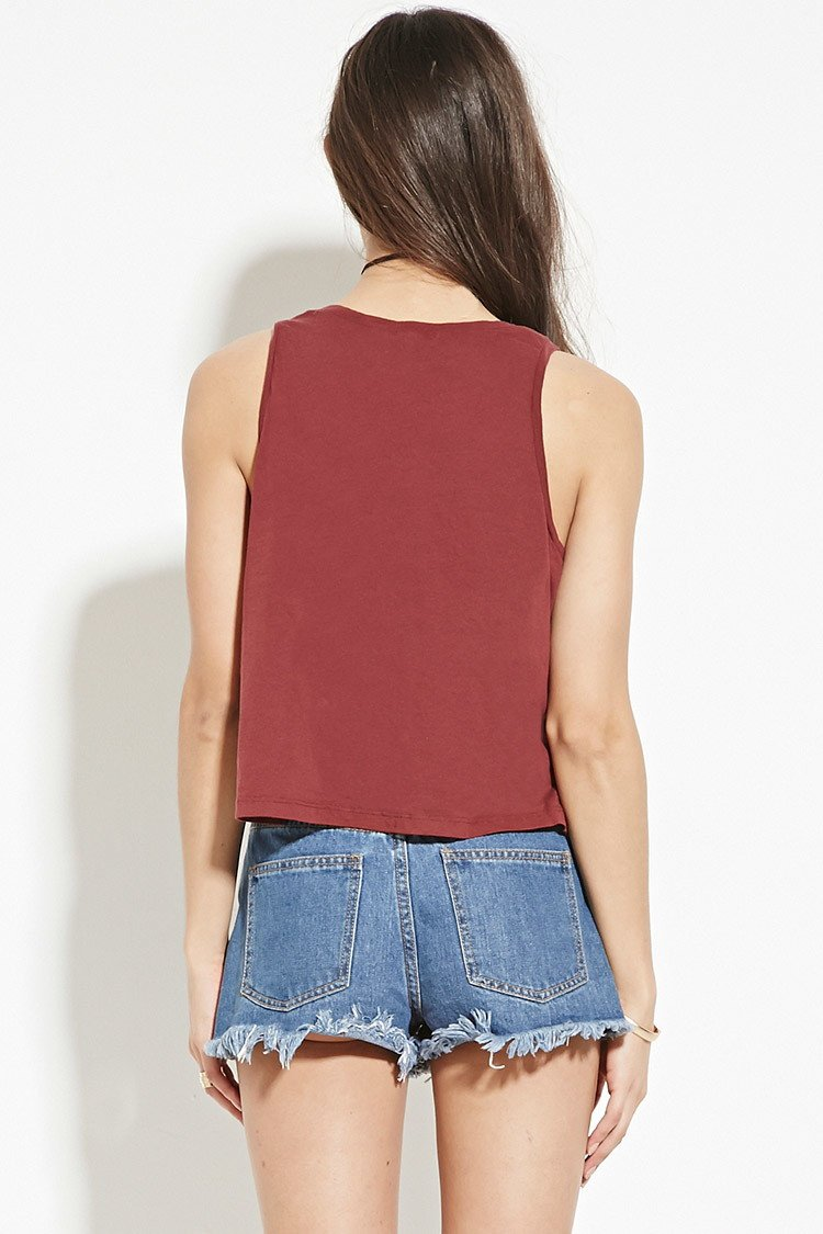 452a5f40c202 Forever 21 Out Of Your League Graphic Tank in Purple - Lyst