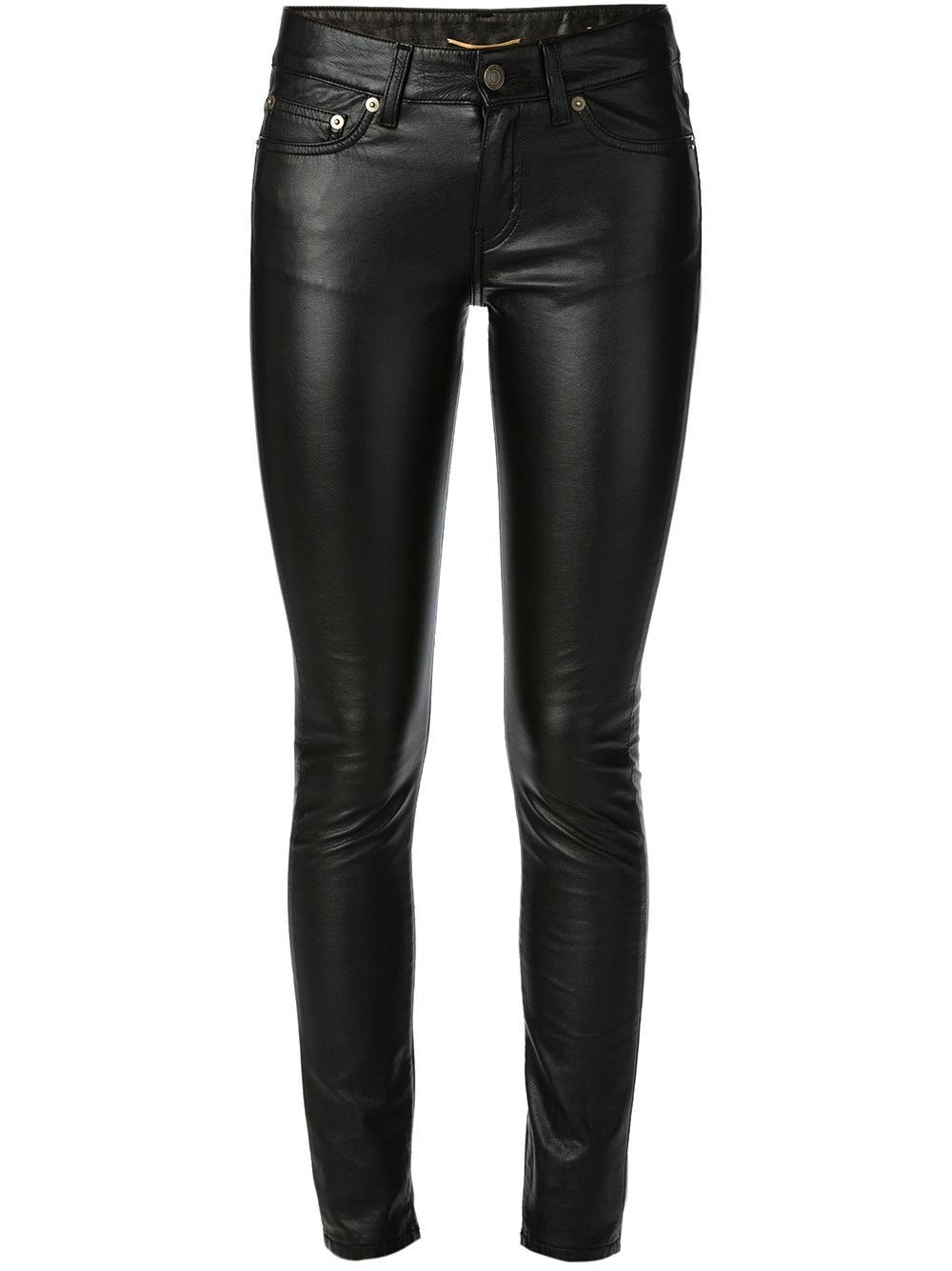 Saint laurent Eco Leather Skinny Jeans in Black  Lyst