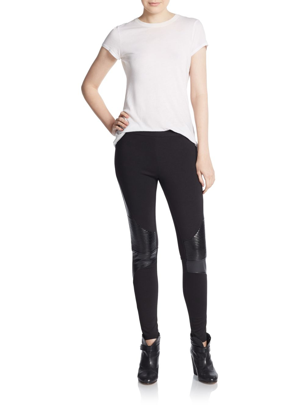 97000a2d996718 Romeo and Juliet Couture Faux Leather-trimmed Leggings in Black - Lyst