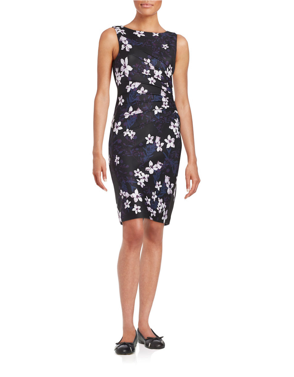 Ivanka trump Floral Sheath Dress in Purple | Lyst