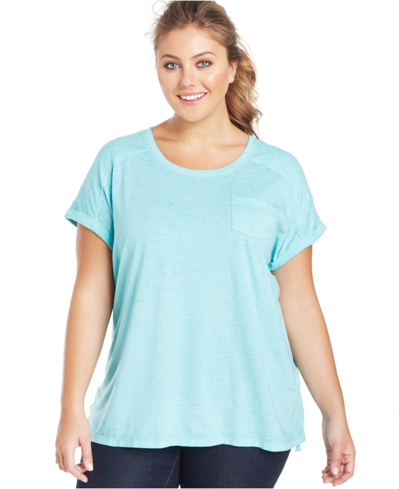 Lyst Style Co Plus Size Pocket T Shirt In Blue