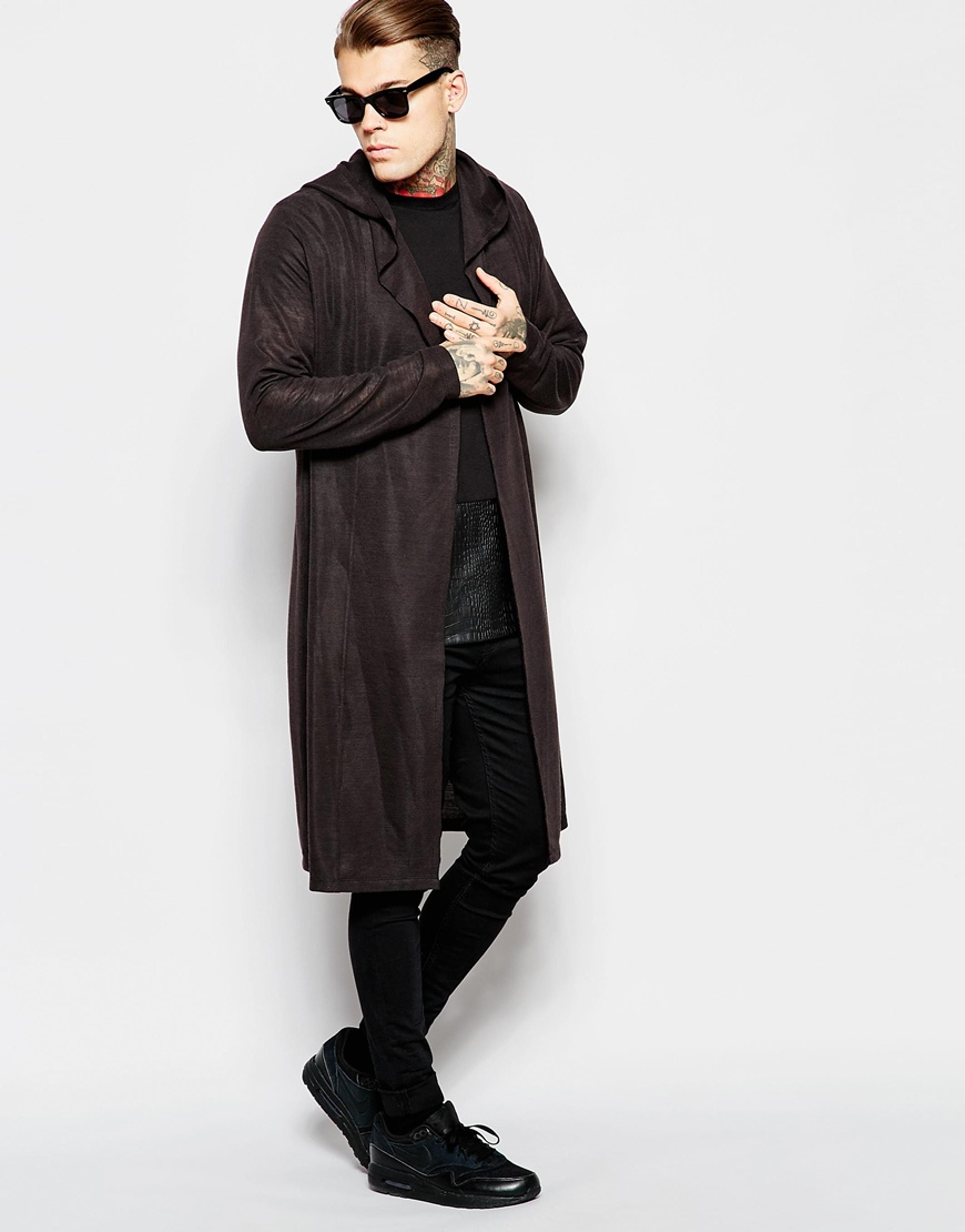 Asos Extreme Longline Cardigan With Hood In Slub Fabric in Black ...