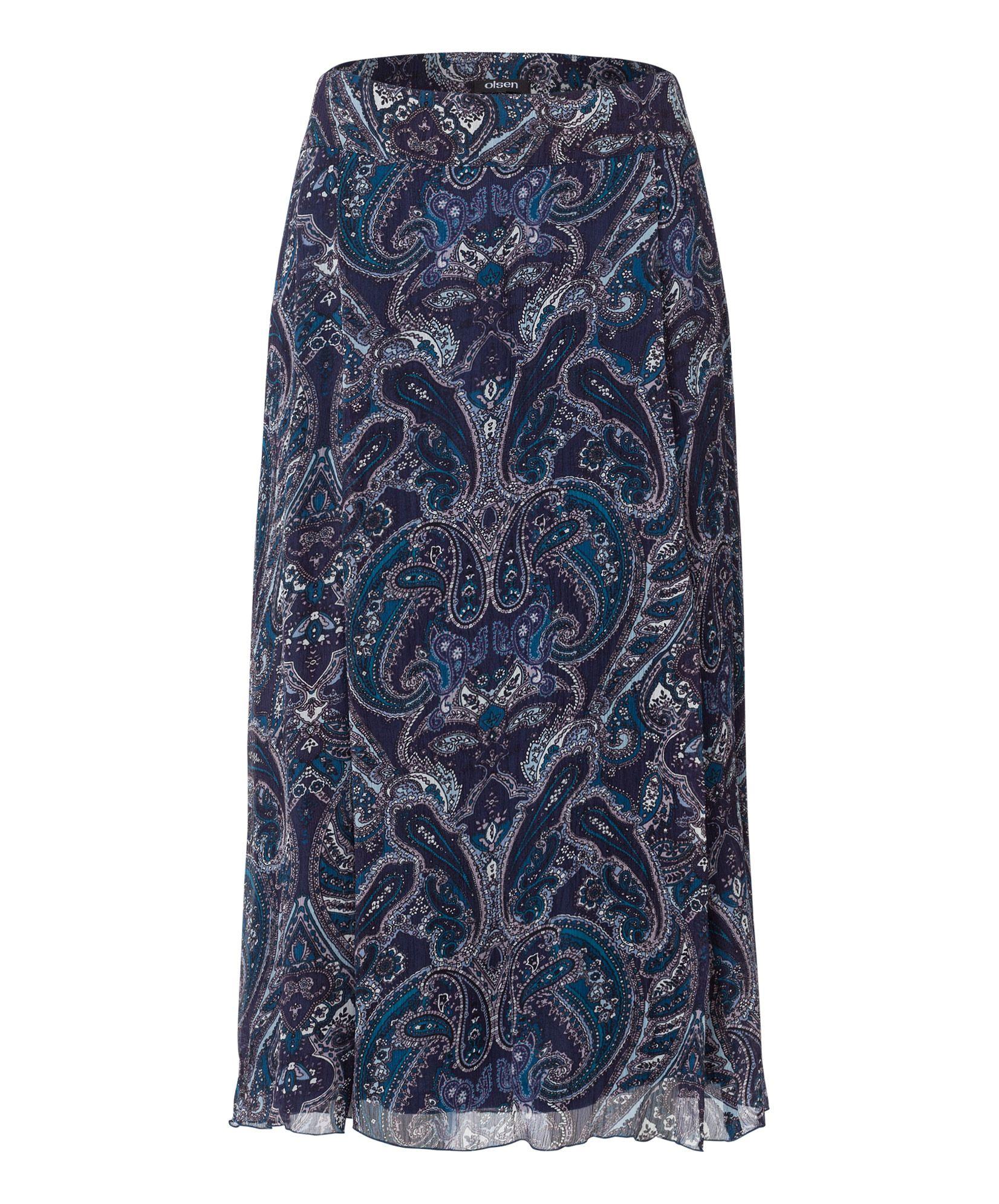 paisley print skirt in blue lyst