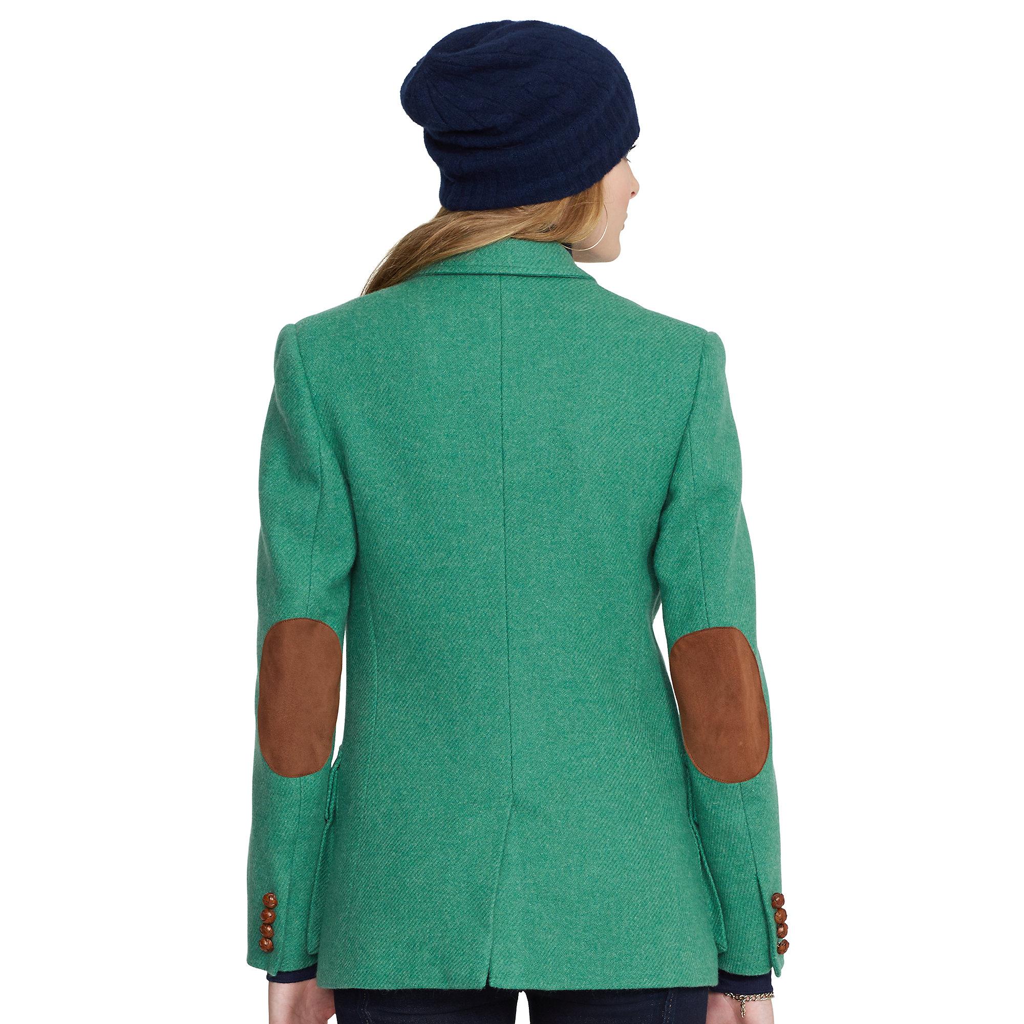 Polo Ralph Lauren Elbow Patch Boyfriend Jacket In Green Lyst