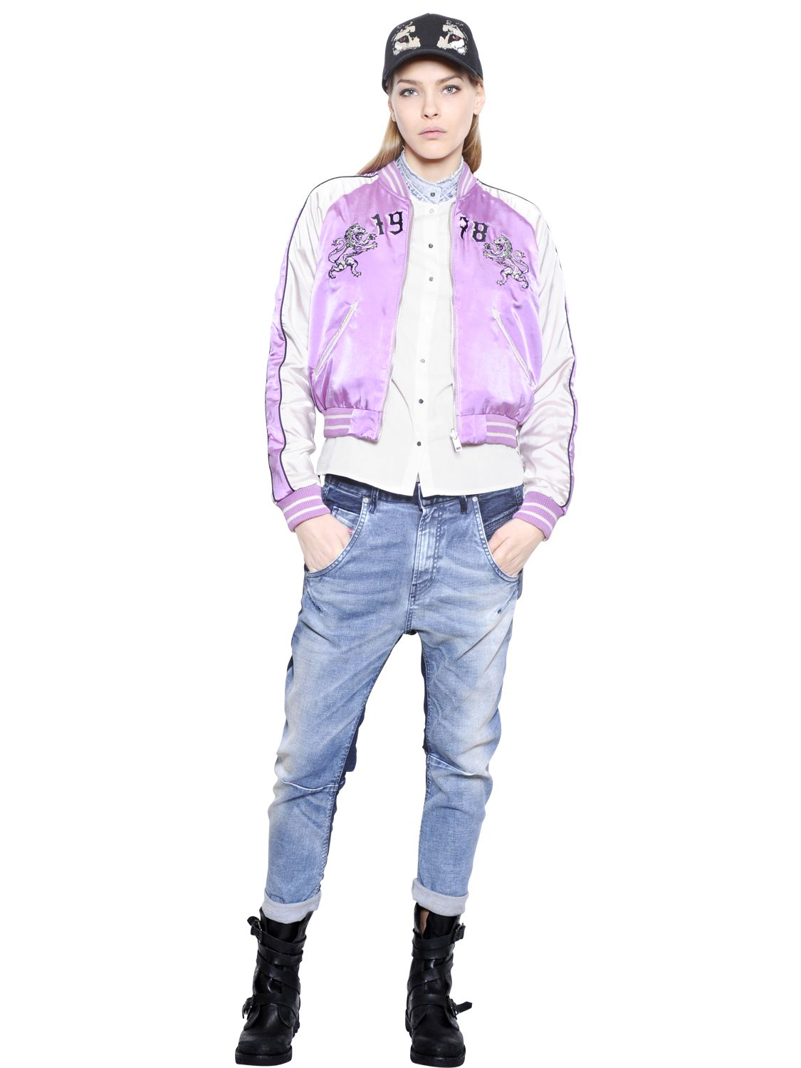 Diesel Reversible Techno Satin Bomber Jacket In Purple Lyst