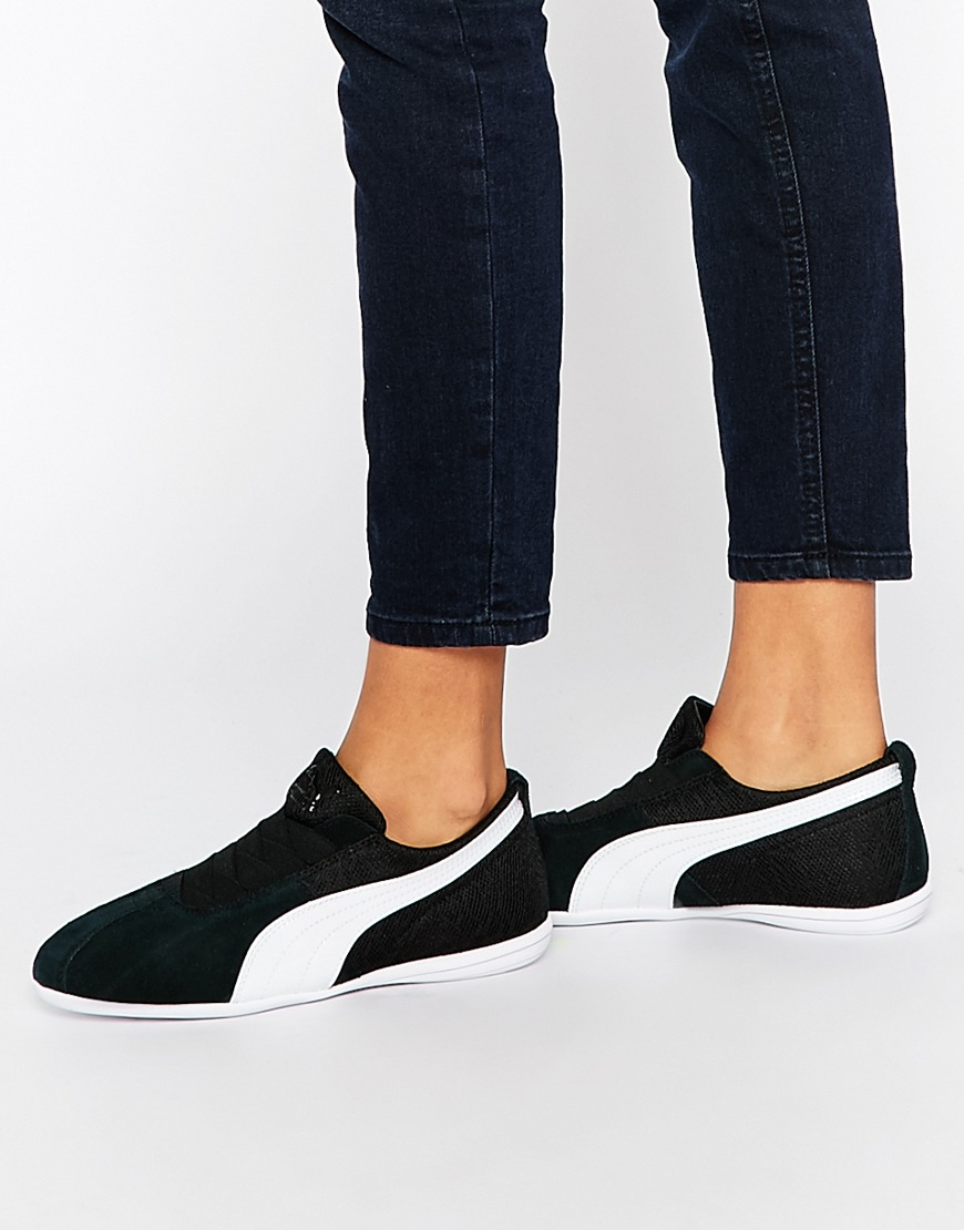 Puma Eskiva Low Black Textured Trainers In Black Lyst