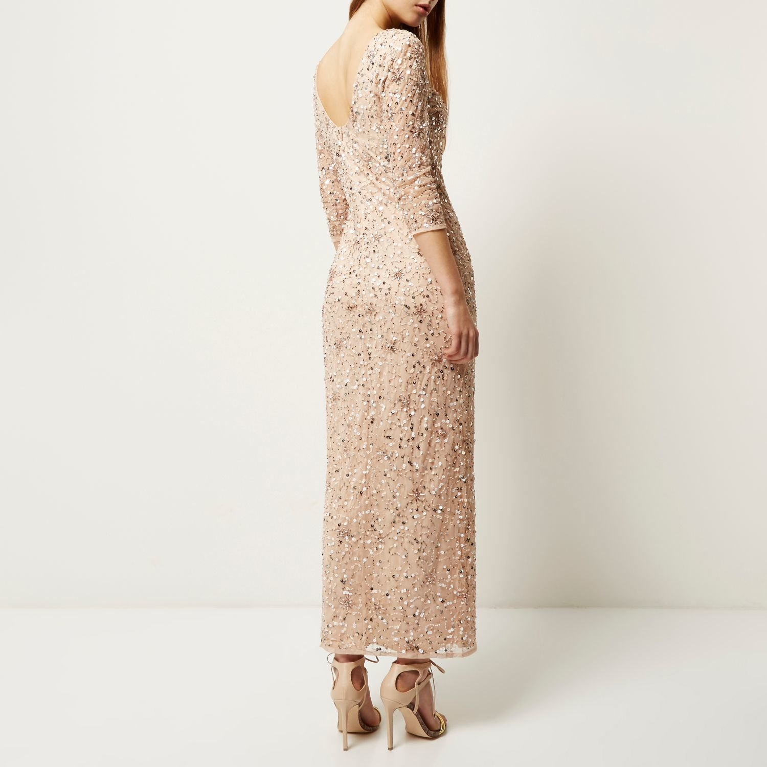 Lyst River Island Light Pink Bead Embellished Maxi Dress In Natural