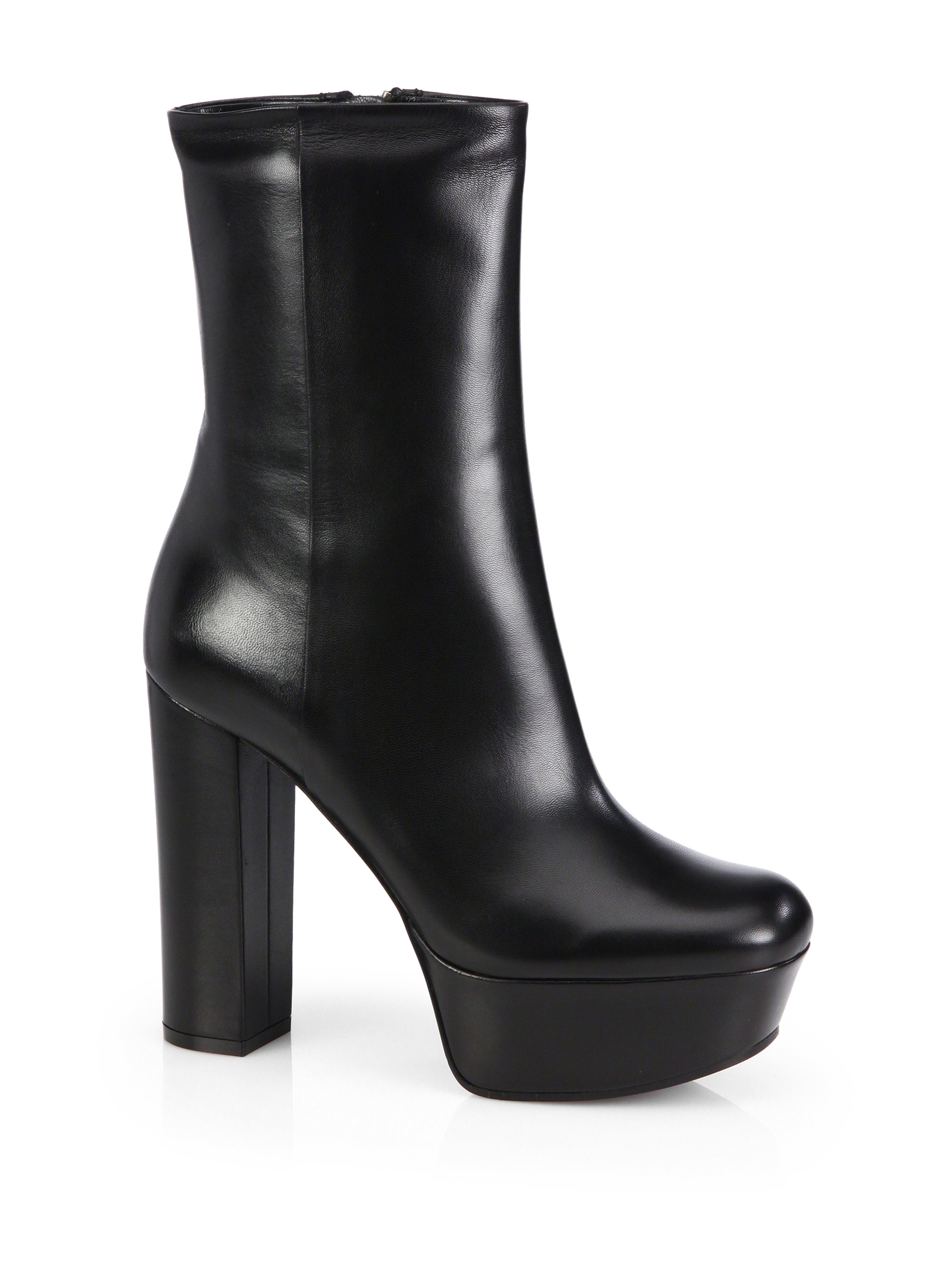 e4129253cba1 Lyst - Gucci Leather Platform Ankle Boots in Black