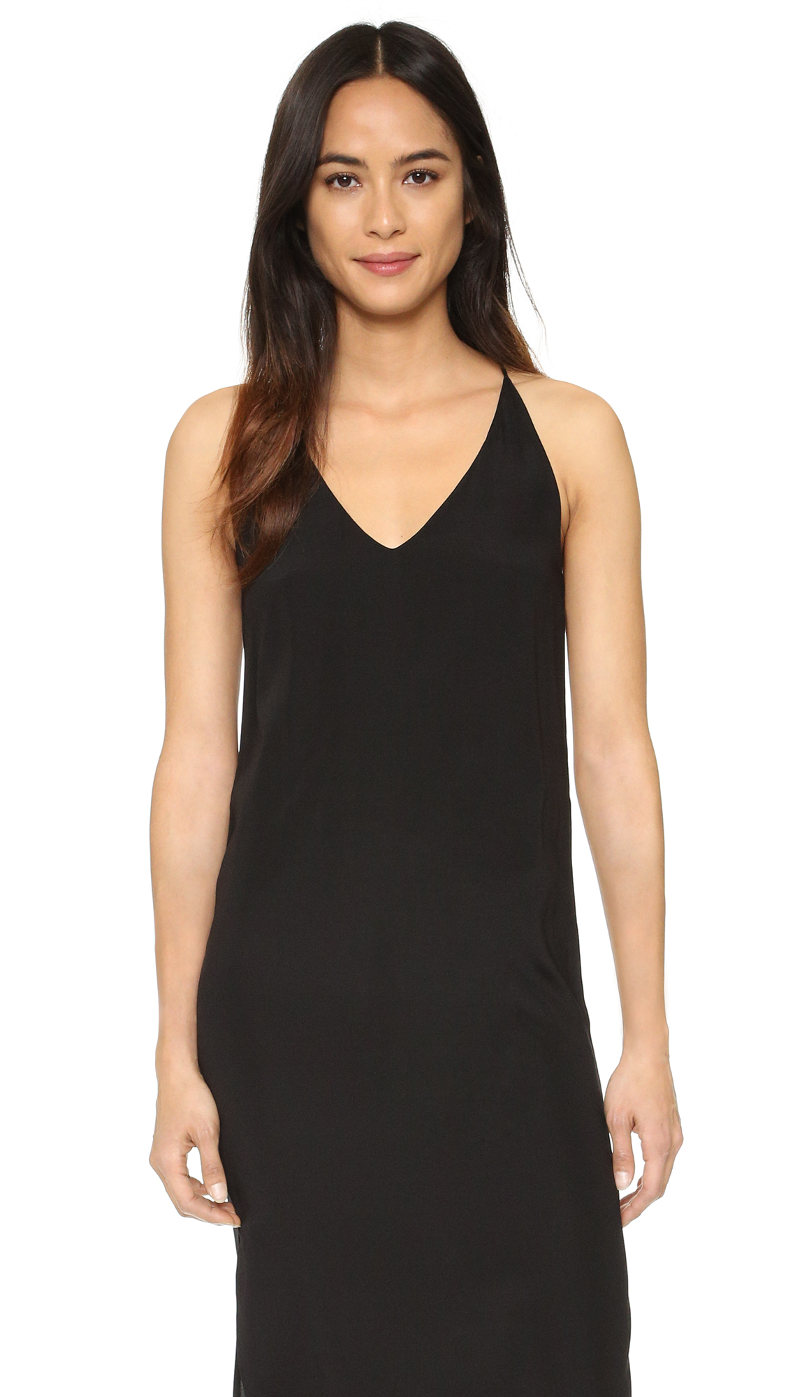 Lyst 6397 V Neck Slip Dress In Black