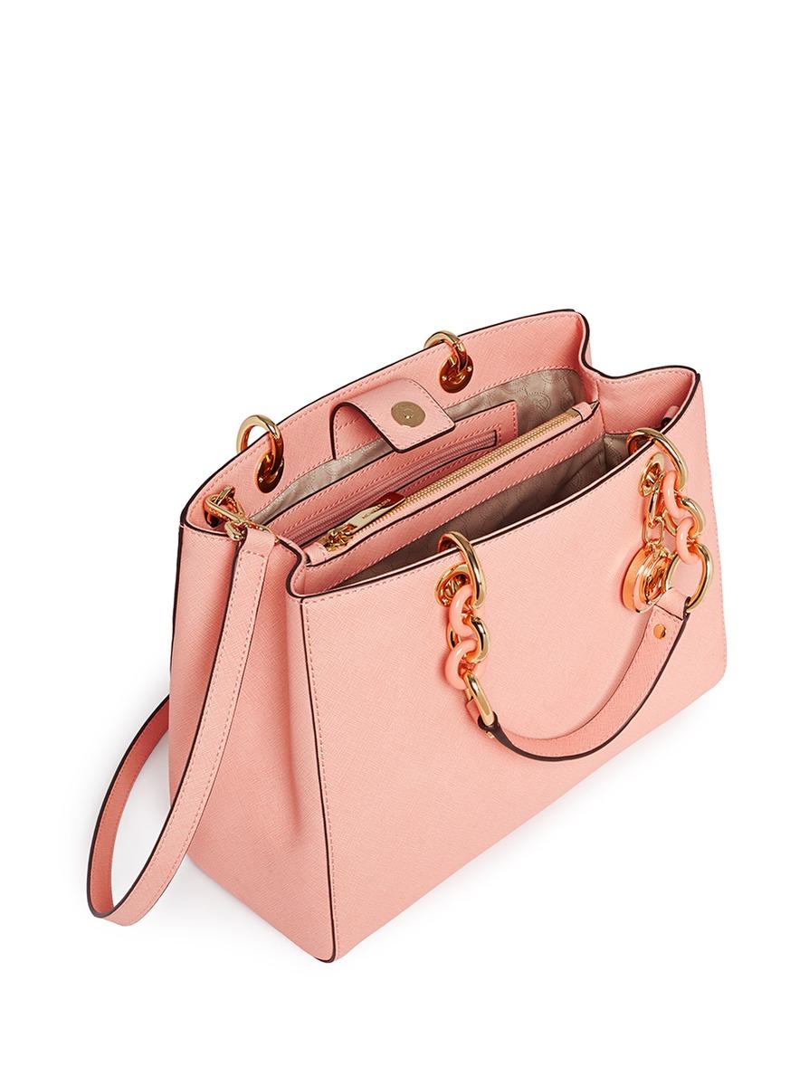 259e93c71b37 Lyst - Michael Kors  cynthia  Medium Saffiano Leather Satchel in Pink
