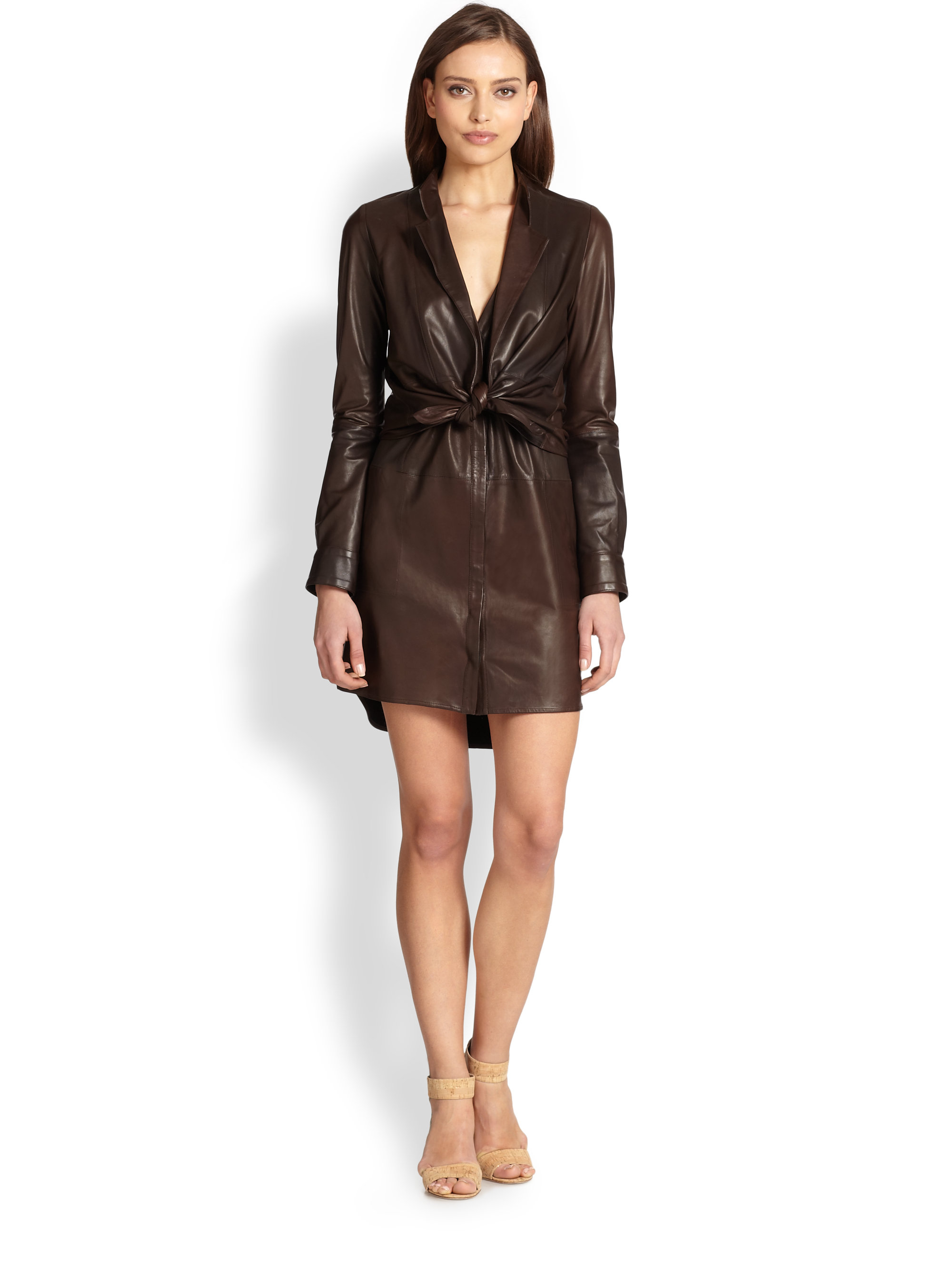 10badd869c Halston Leather Shirtdress in Brown - Lyst