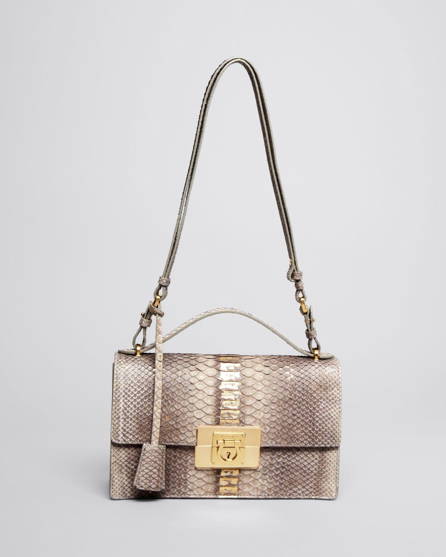 0f219faefc25 Lyst - Ferragamo Shoulder Bag - Aileen Python