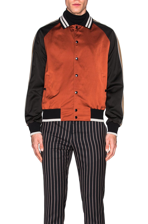 Lanvin Colorblock Satin Baseball Jacket in Orange | Lyst