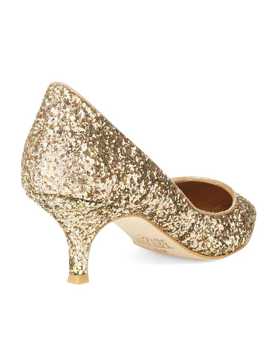 Belle by badgley mischka Puma Glitter Kitten Heels | Lyst