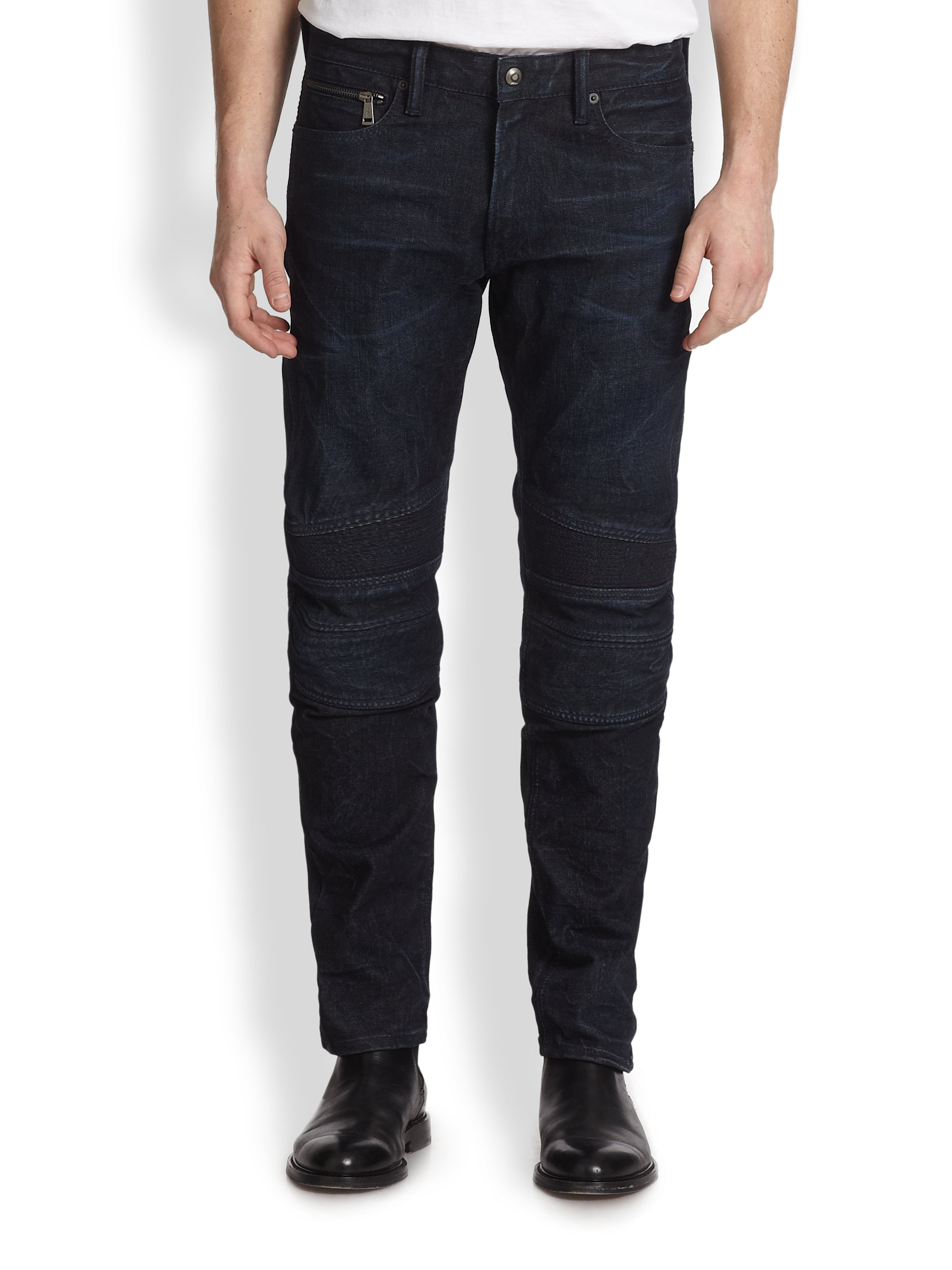 ralph lauren black label piston moto stretch jeans in blue for men lyst. Black Bedroom Furniture Sets. Home Design Ideas