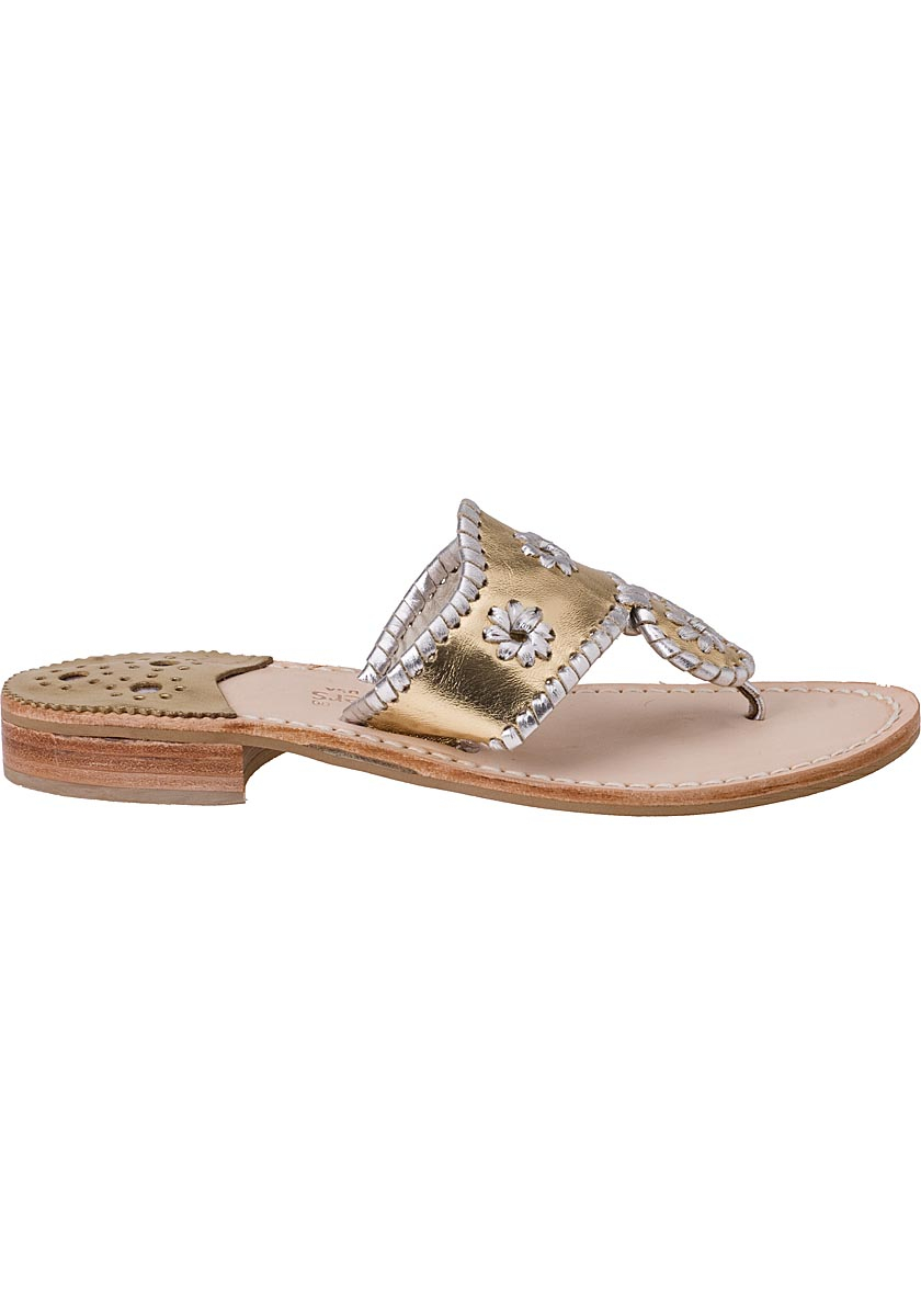 Jack Rogers Thong Sandal Silver Gold Leather In Metallic