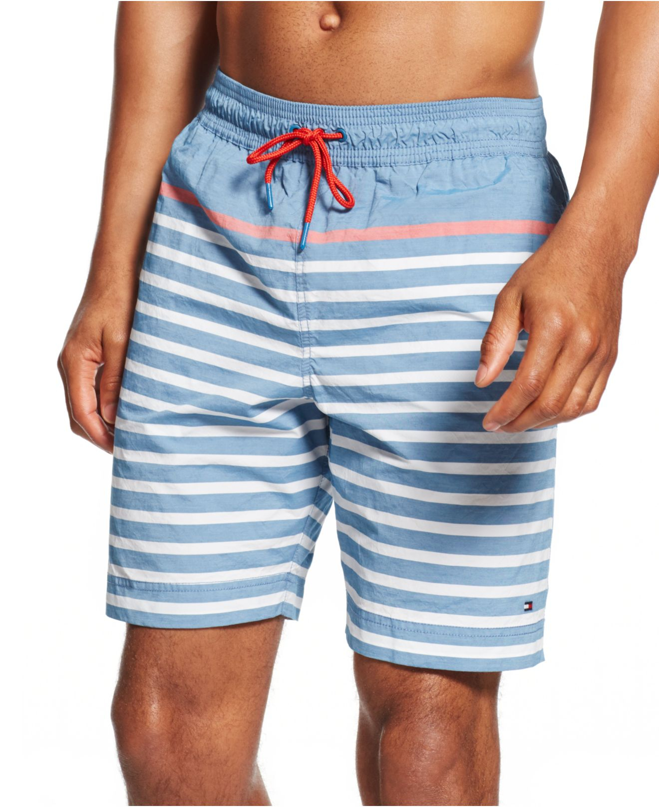 ce08356a3777e Tommy Hilfiger Striped Swim Trunks in Blue for Men - Lyst