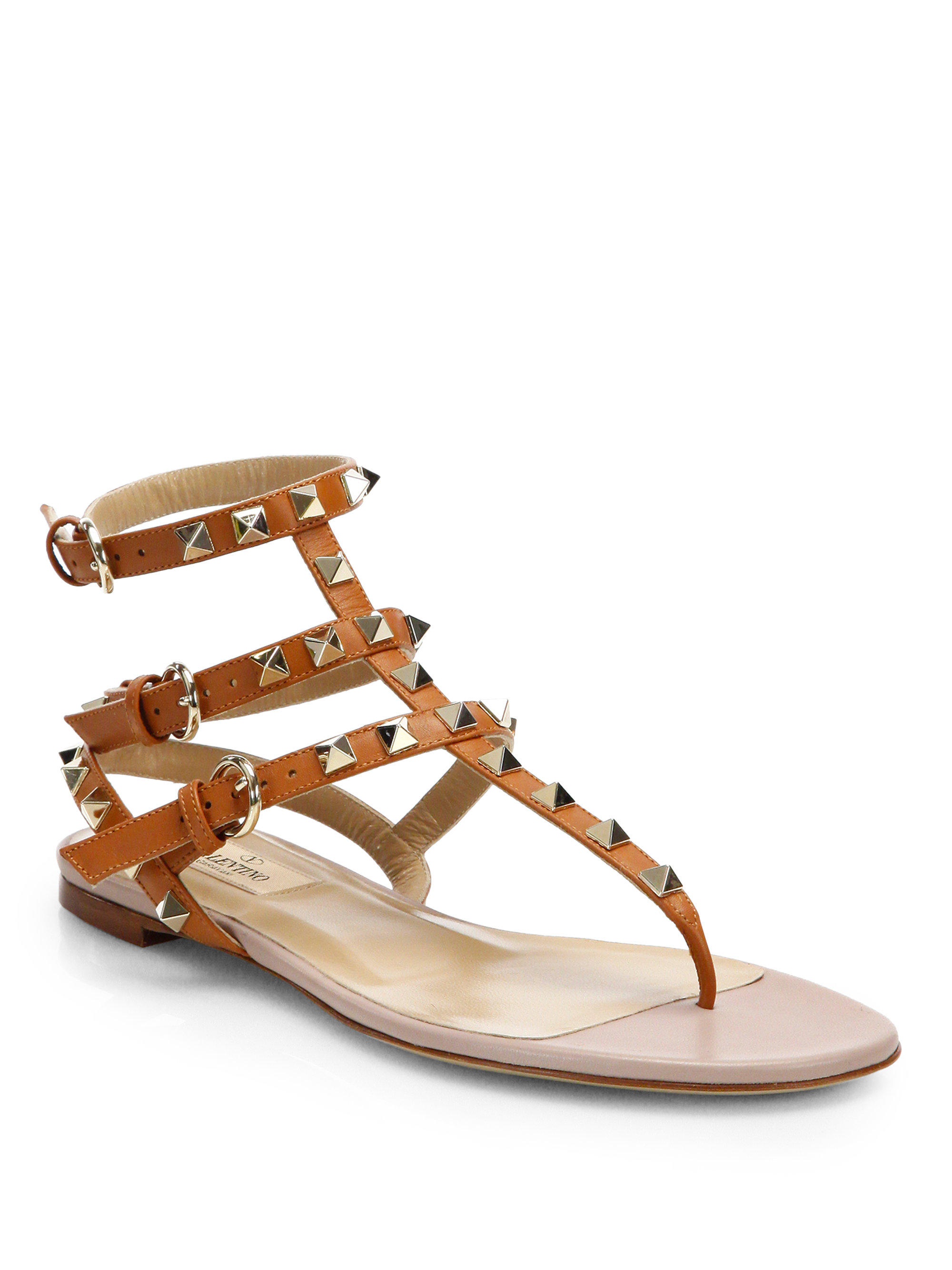Valentino Rockstud Leather Gladiator Sandals In Brown