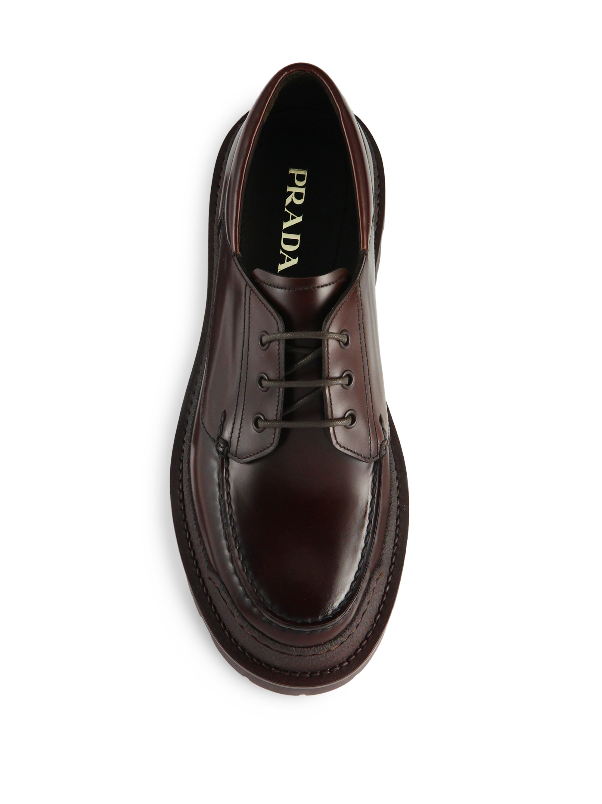 Lyst Prada Rois Lug Sole Spazzolato Leather Derby Shoes