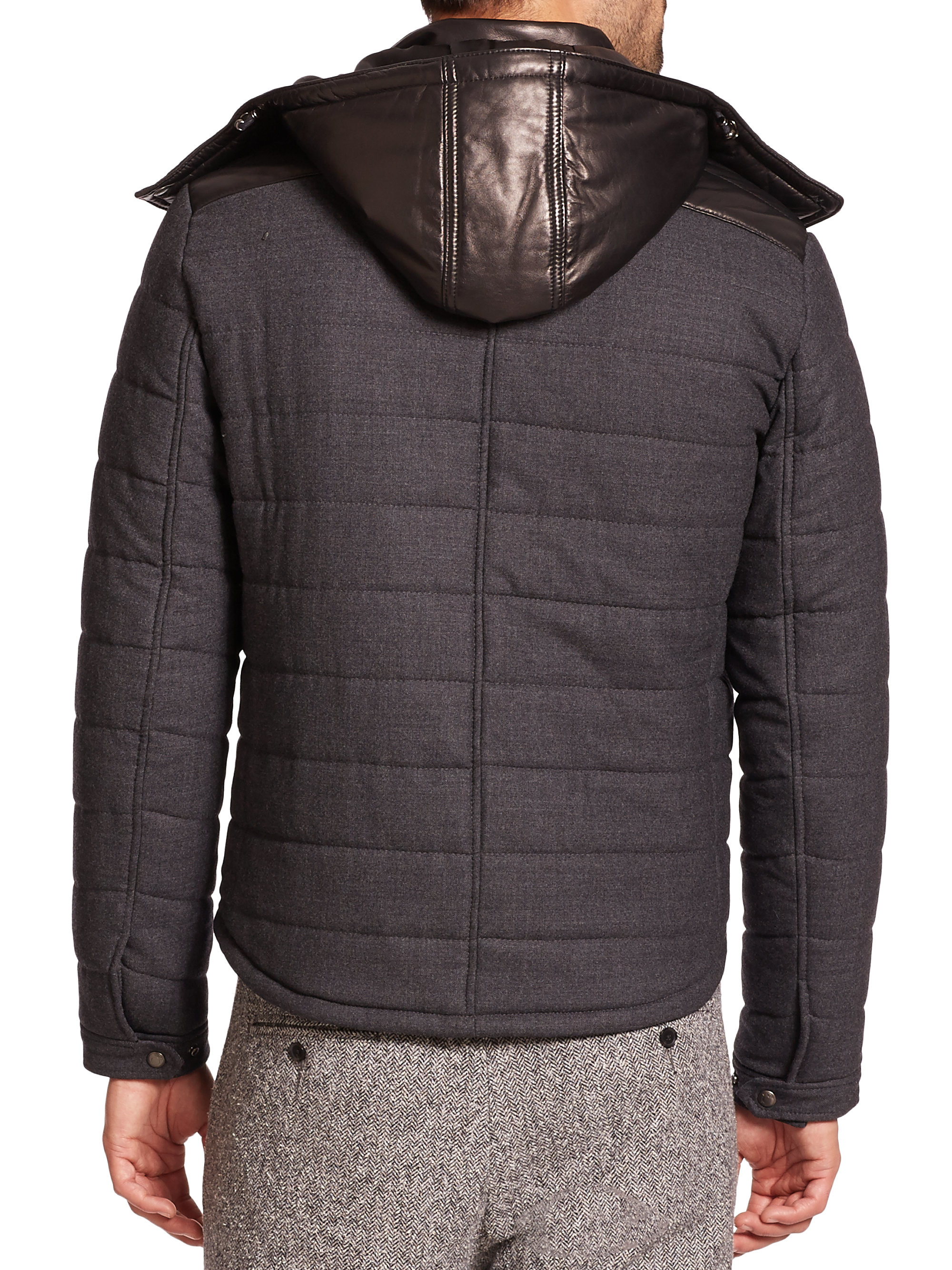 Lyst Vince Leather Hood Quilted Wool Jacket In Black For Men