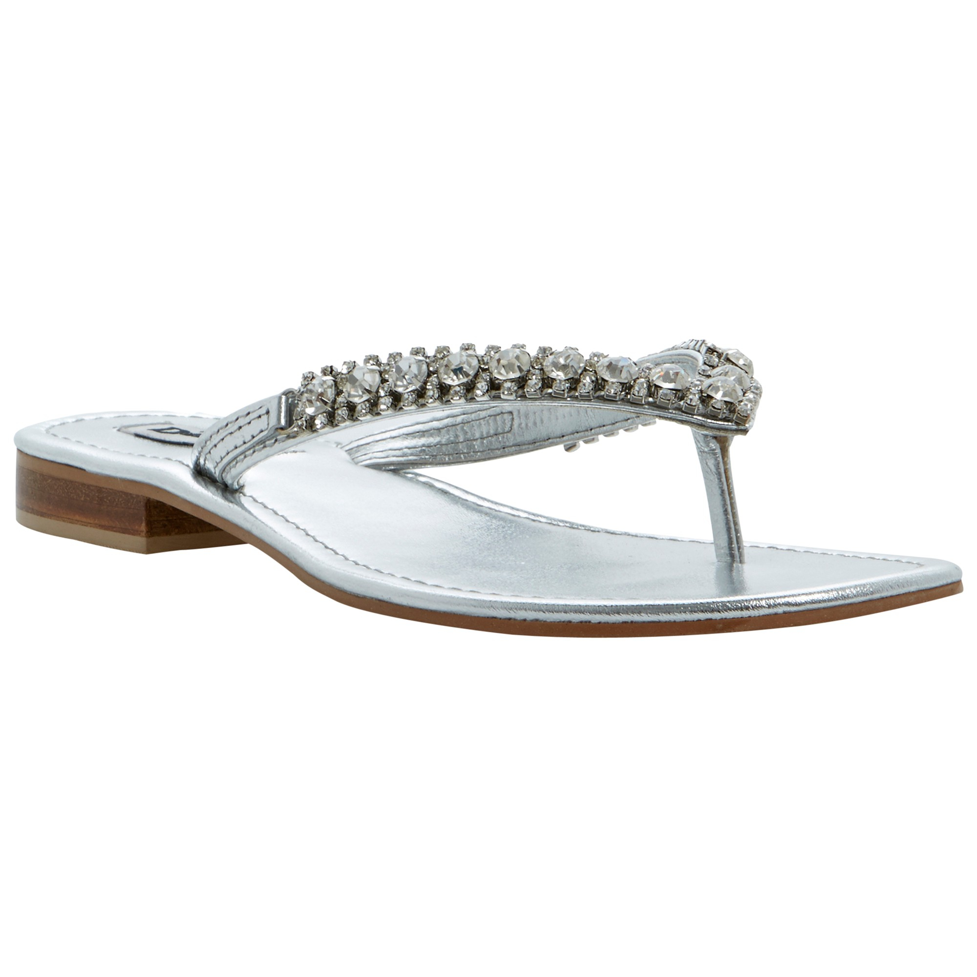 Dune kiki leather flat sandals in silver lyst