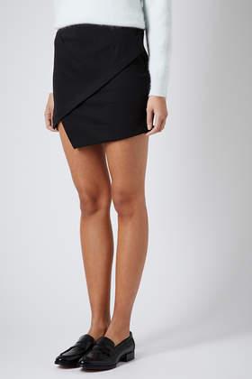 Topshop Asymmetric Wrap Mini Skirt in Black   Lyst