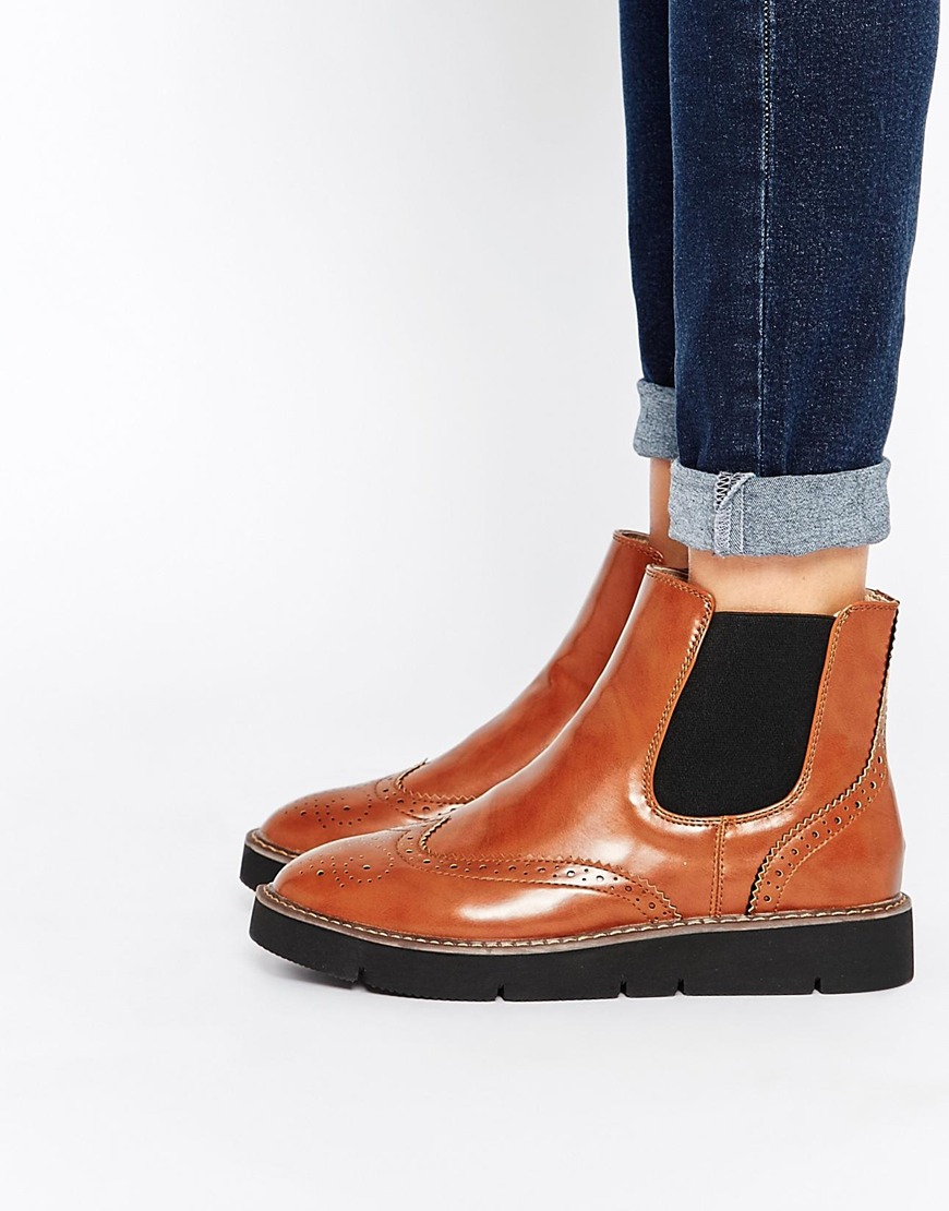 London Rebel Chunky Brogue Chelsea Boots In Brown For Men