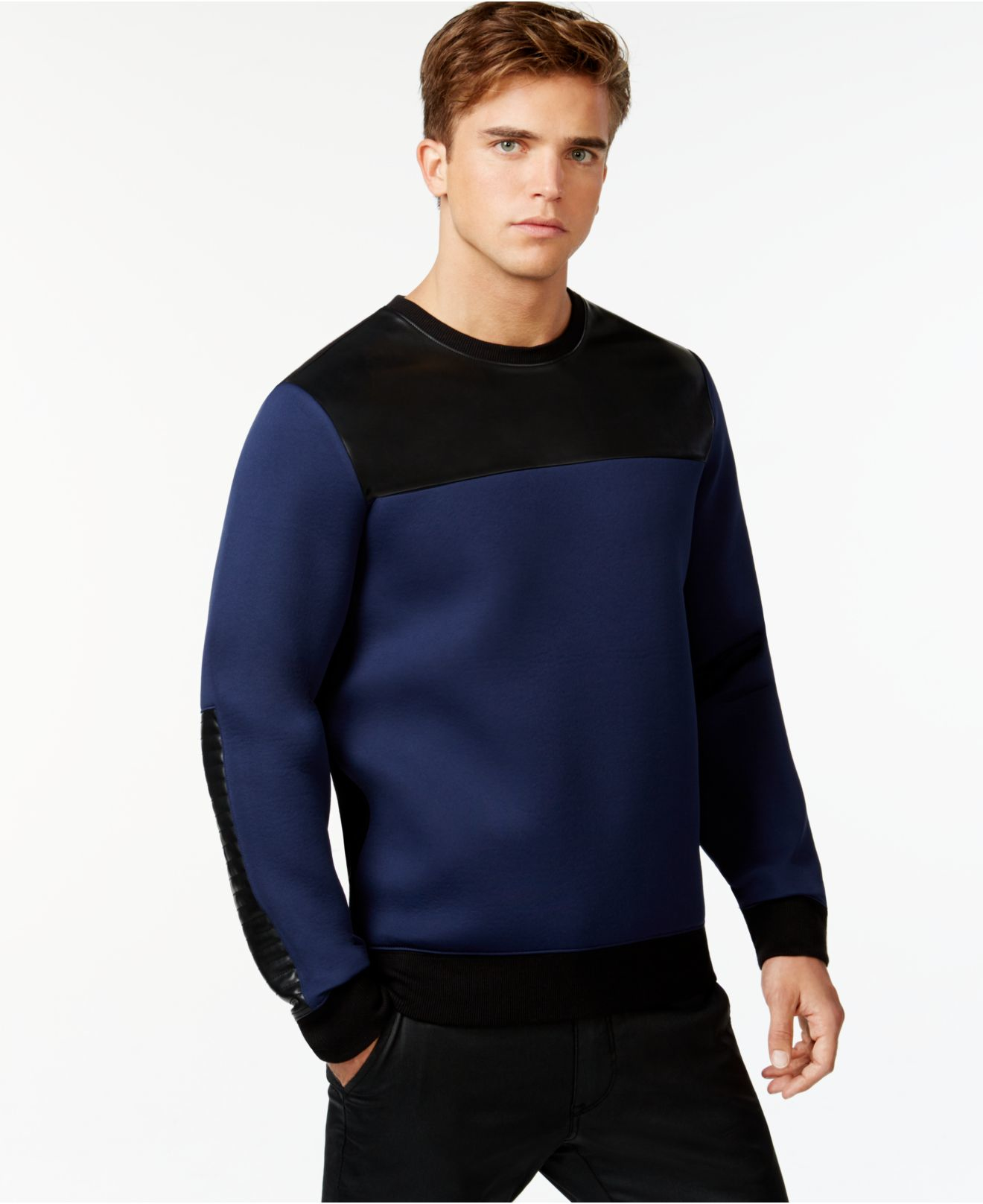 26a1d1f2eda3 Guess Colorblock Crew-neck Sweatshirt in Blue for Men - Lyst