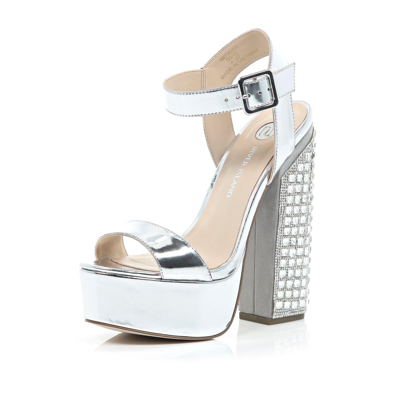 0dd2396e2cb River Island Metallic Silver Gem Encrusted Block Heels in Metallic ...