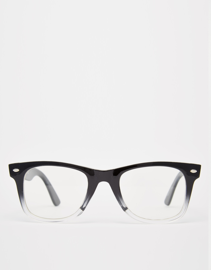 Asos Square Glasses With Clear Lens In Black For Men Lyst
