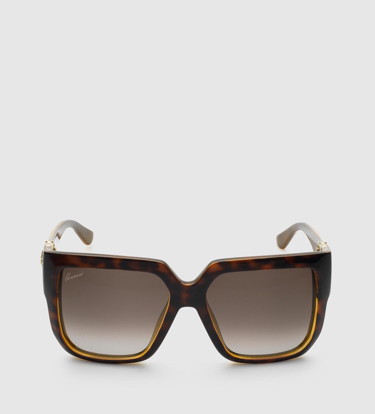 bb5ab945ff Lyst - Gucci Oversized Square-frame Horsebit Sunglasses in Black