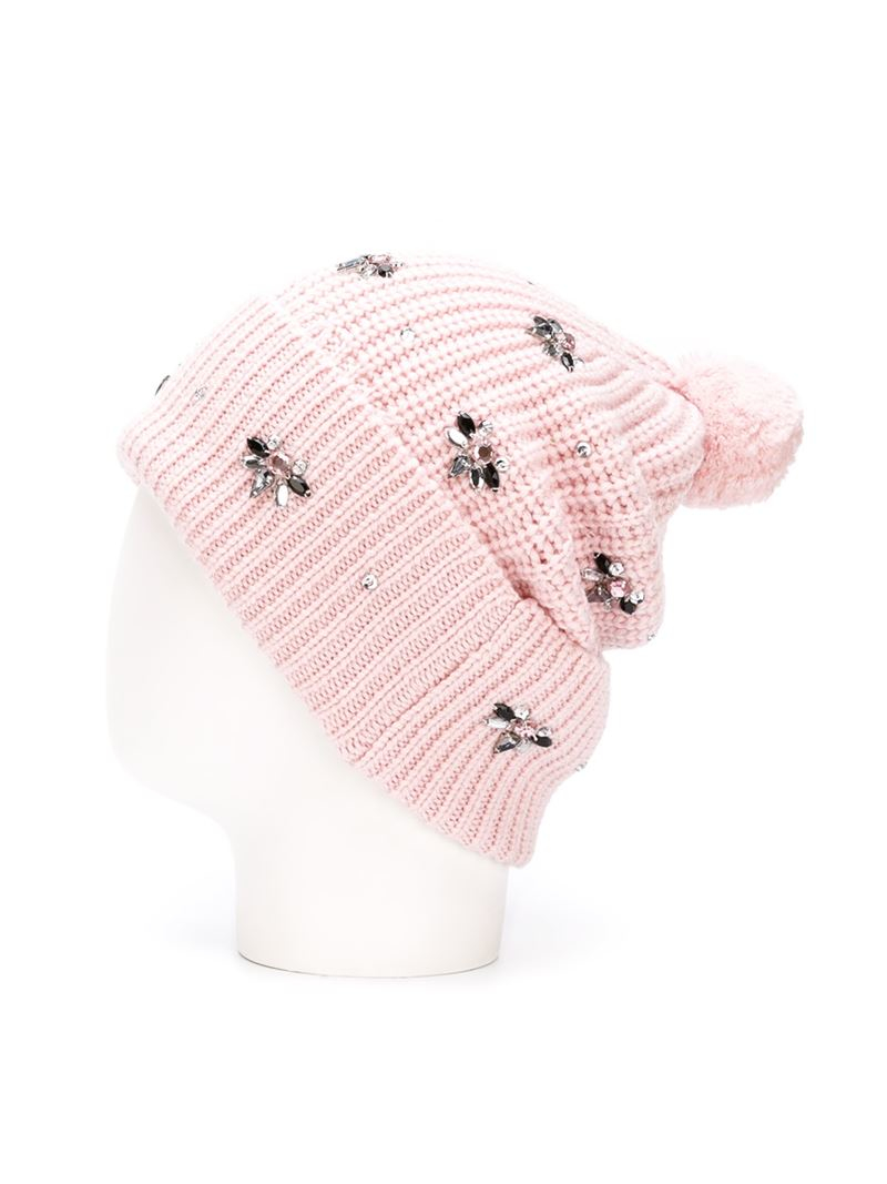 c41a171eae1 Markus Lupfer Embellished Beanie in Pink - Lyst