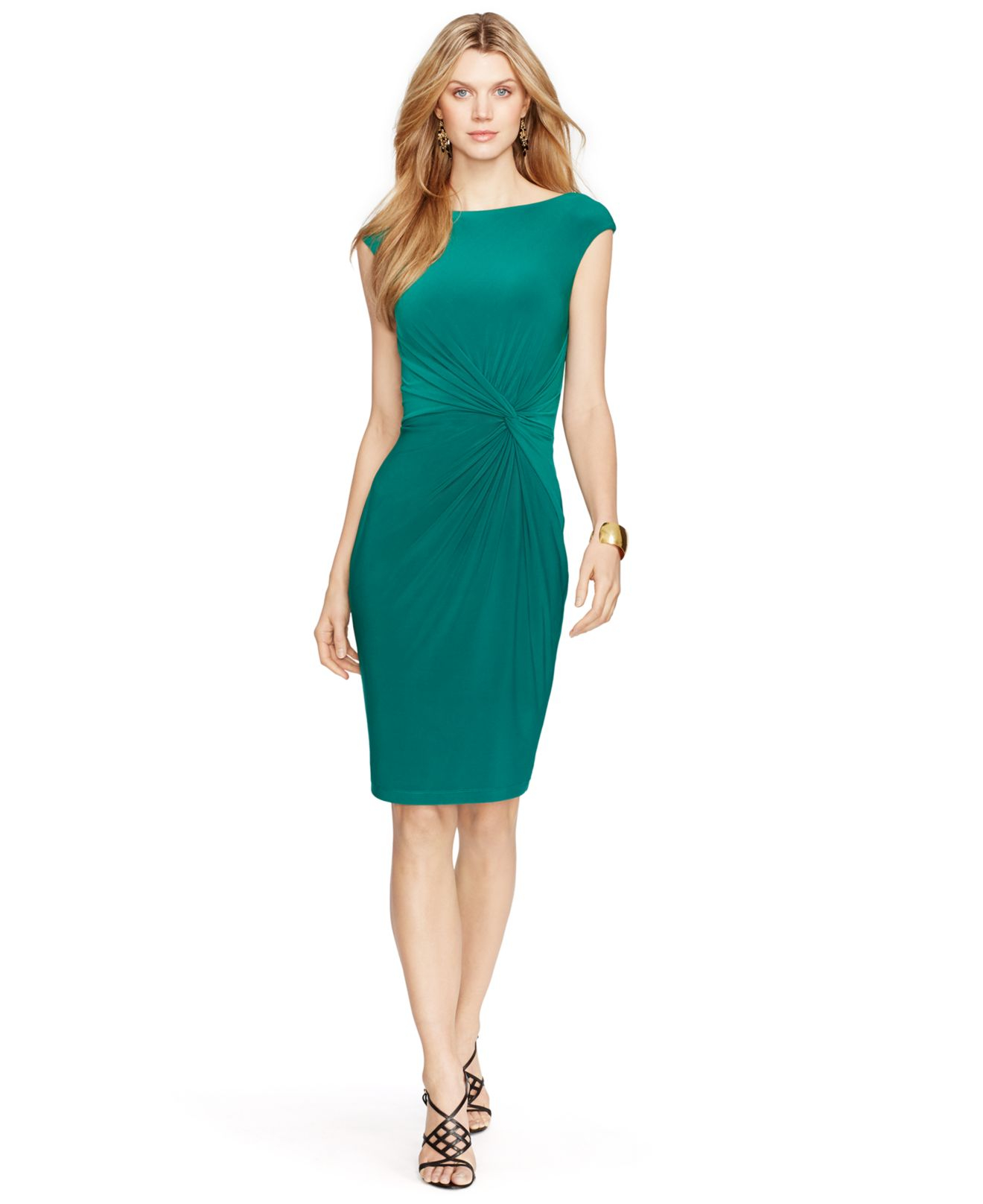 Lauren Ralph Lauren Väskor : Lauren by ralph ruched cap sleeve dress in green lyst