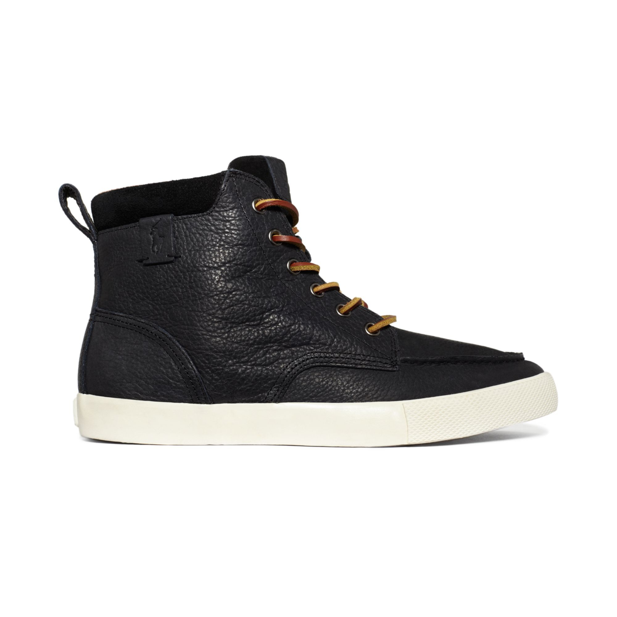 polo ralph lauren shoes tedd hi top sneakers in black for men black black lyst. Black Bedroom Furniture Sets. Home Design Ideas
