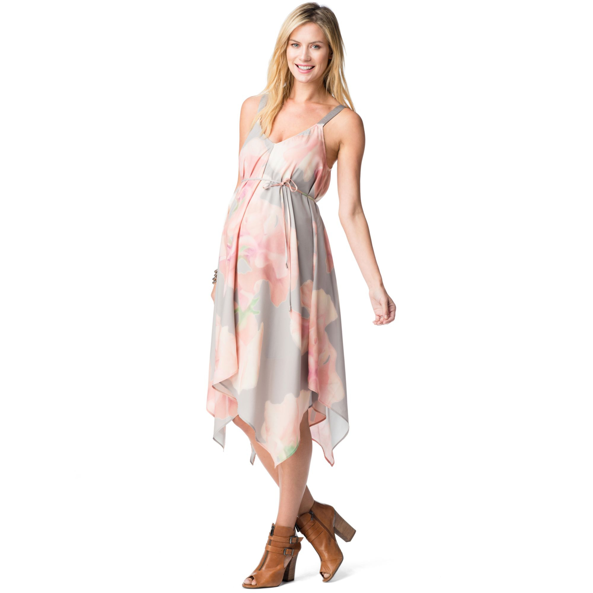 0eec3fcefd2d5 Jessica Simpson Maternity Floralprint Handkerchiefhem Dress in Pink ...
