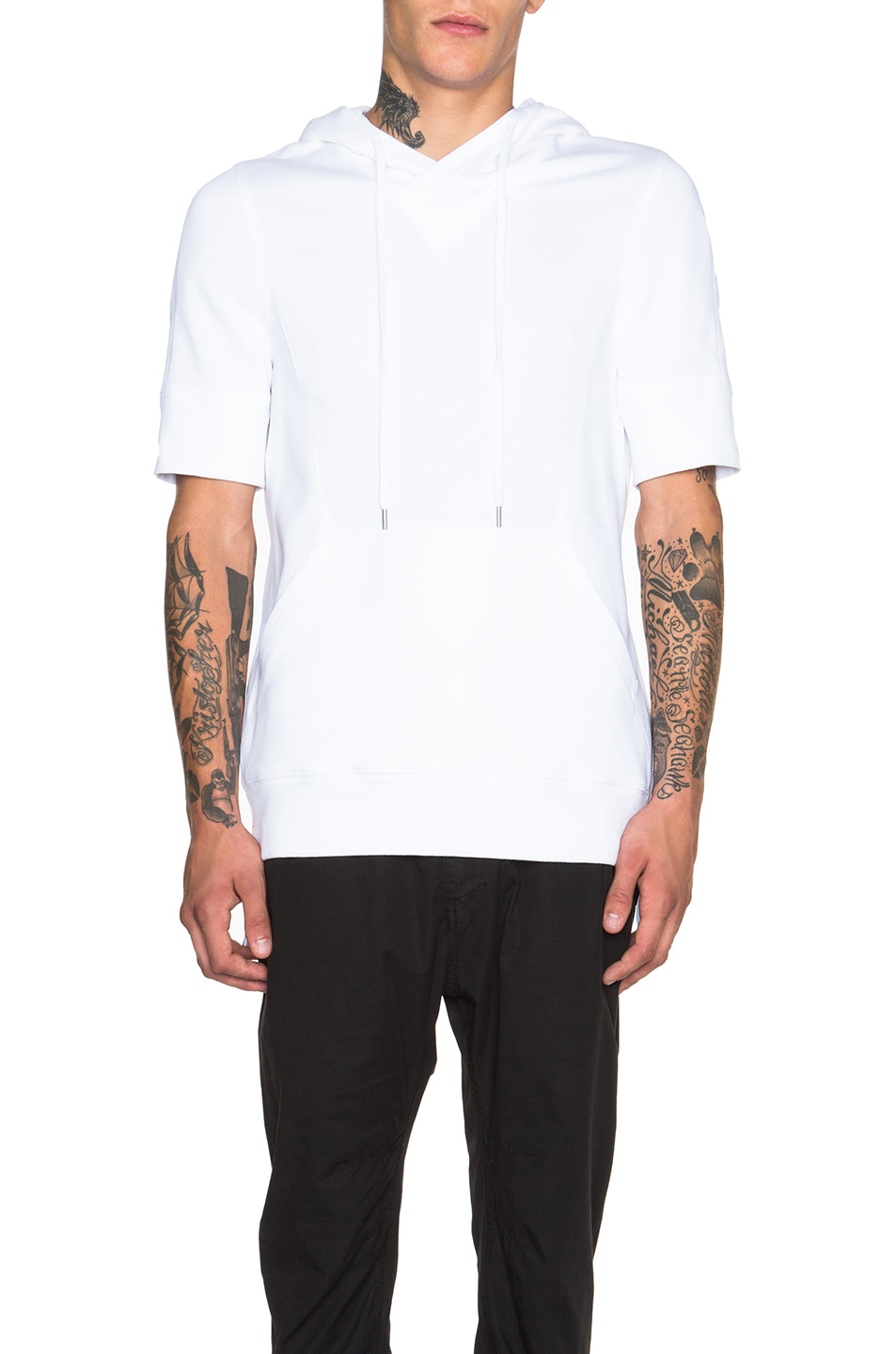 Helmut lang Men's Flat Loop Terry Short Sleeve Hoodie in White | Lyst