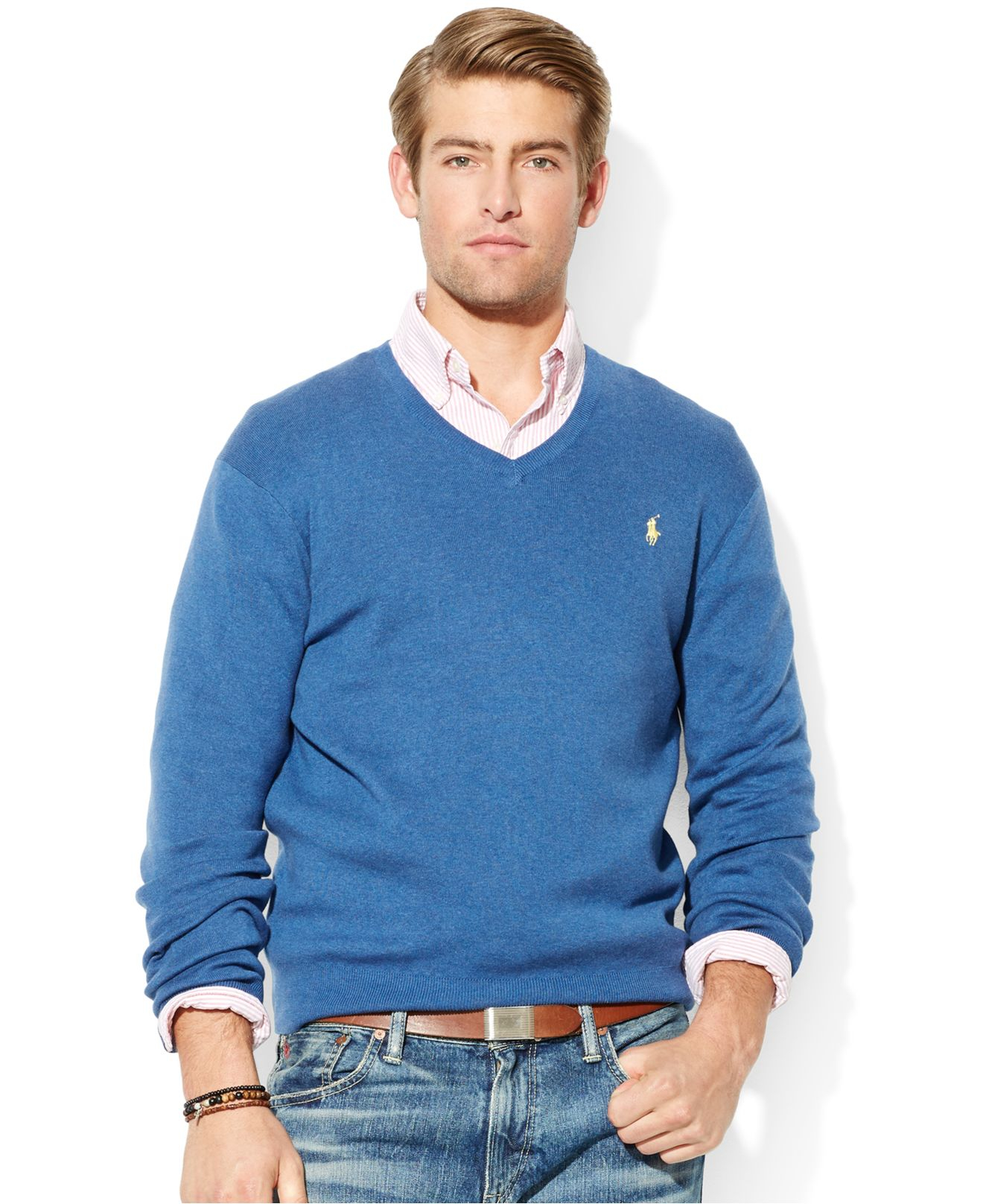 designer fashion sleek brand new Polo Ralph Lauren Blue Pima Cotton V-Neck Sweater for men