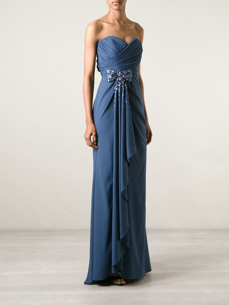 Lyst Badgley Mischka Strapless Sequin Bow Ruffle Gown In