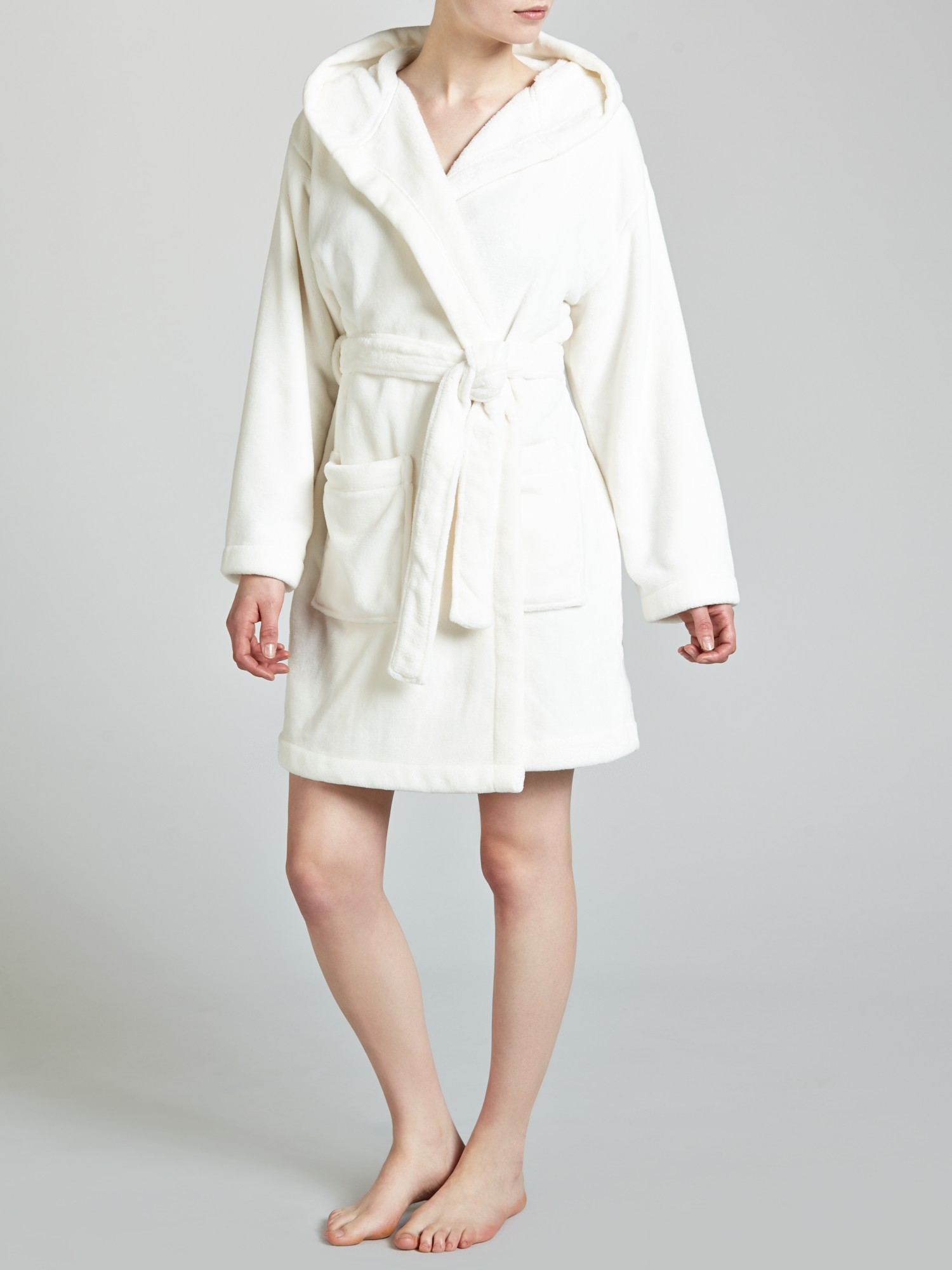 John Lewis Short Hooded Robe in White - Lyst