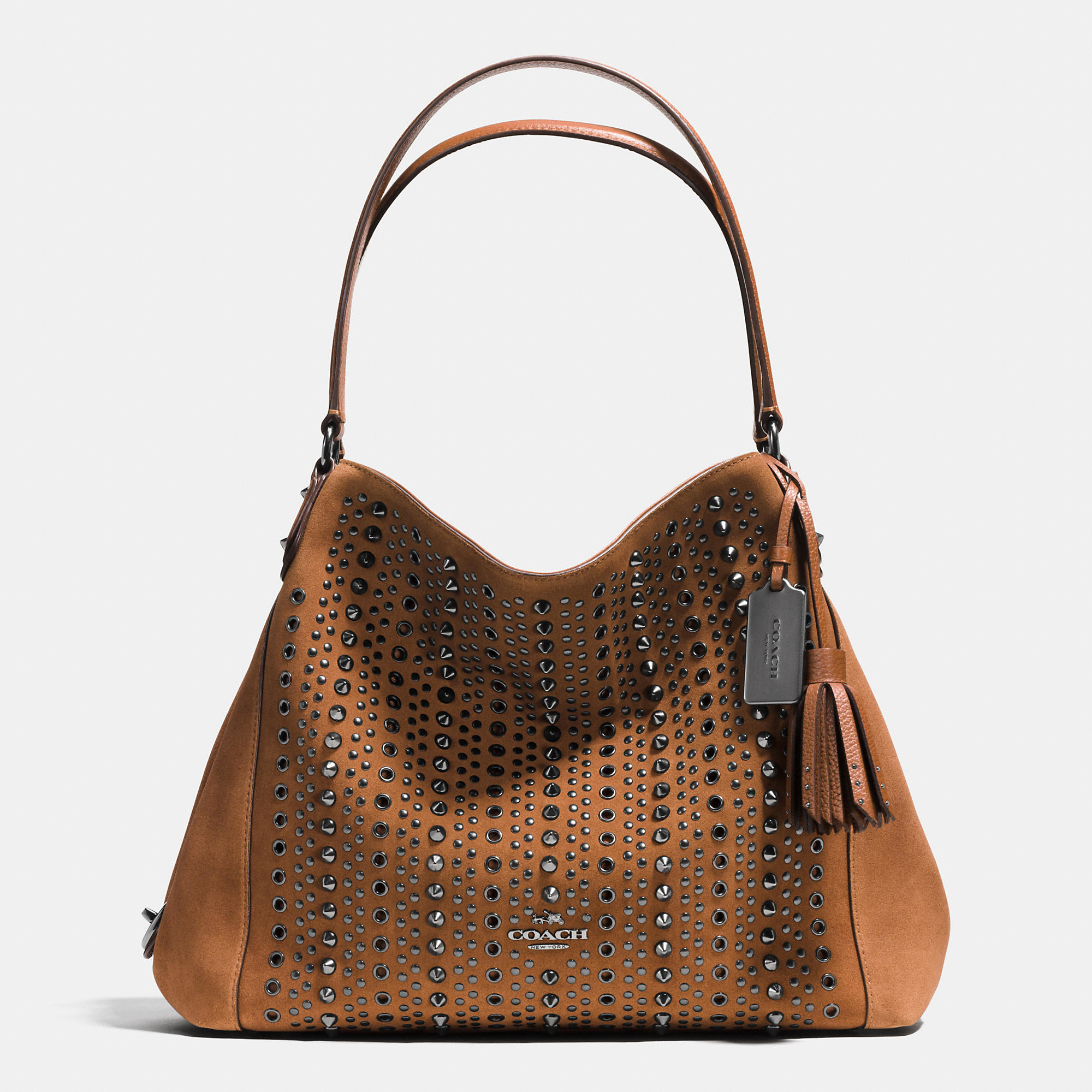 lyst coach all over studs and grommets edie shoulder bag 31 in suede in brown. Black Bedroom Furniture Sets. Home Design Ideas
