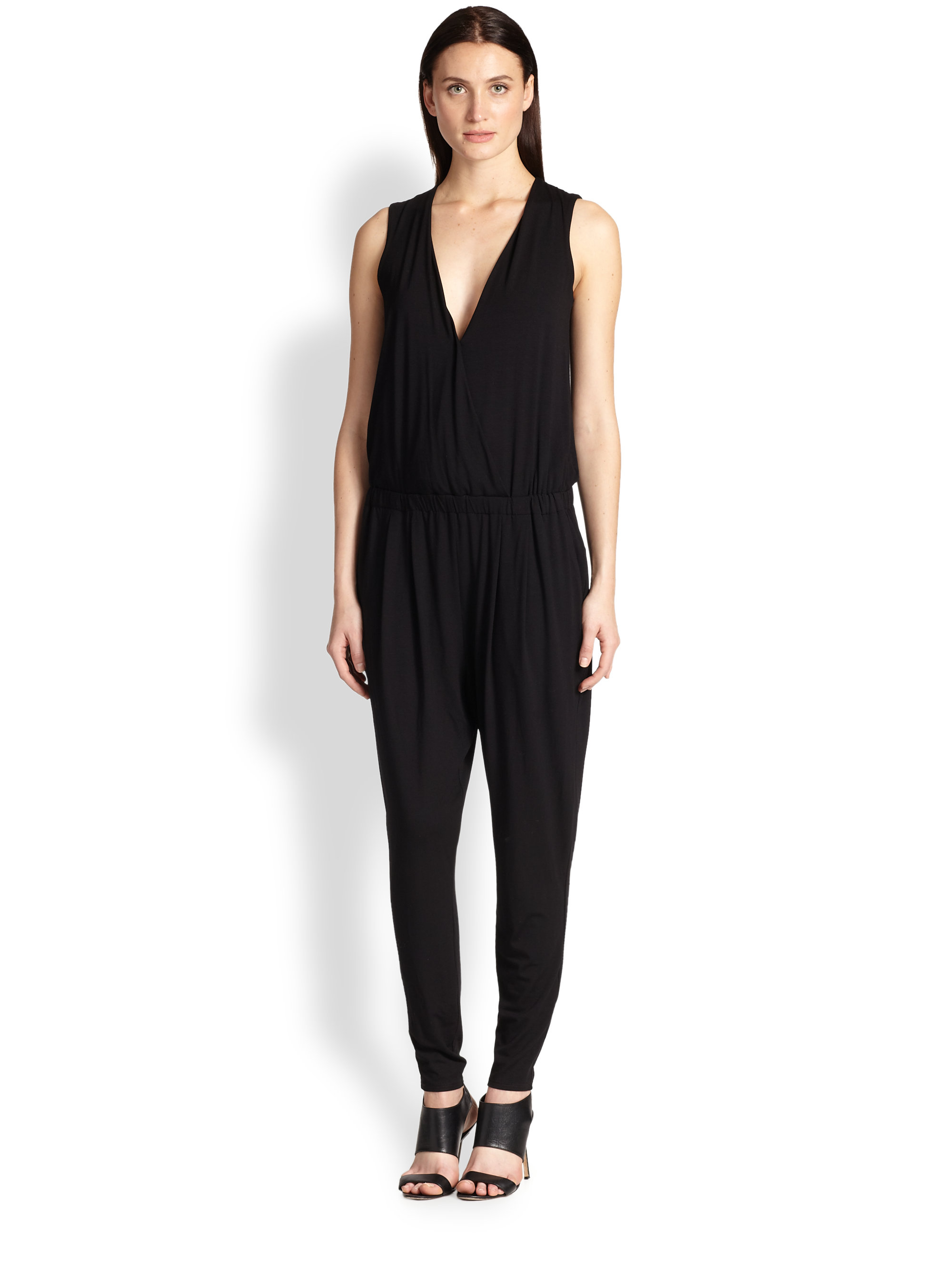 5dc90a55a71 Lyst - Eileen Fisher Jersey Vneck Jumpsuit in Black