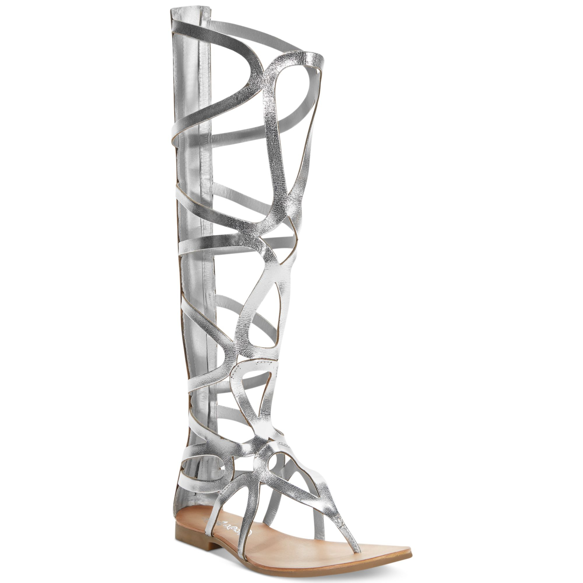 Naughty Monkey Spartacus Tall Shaft Gladiator Sandals In Silver Lyst