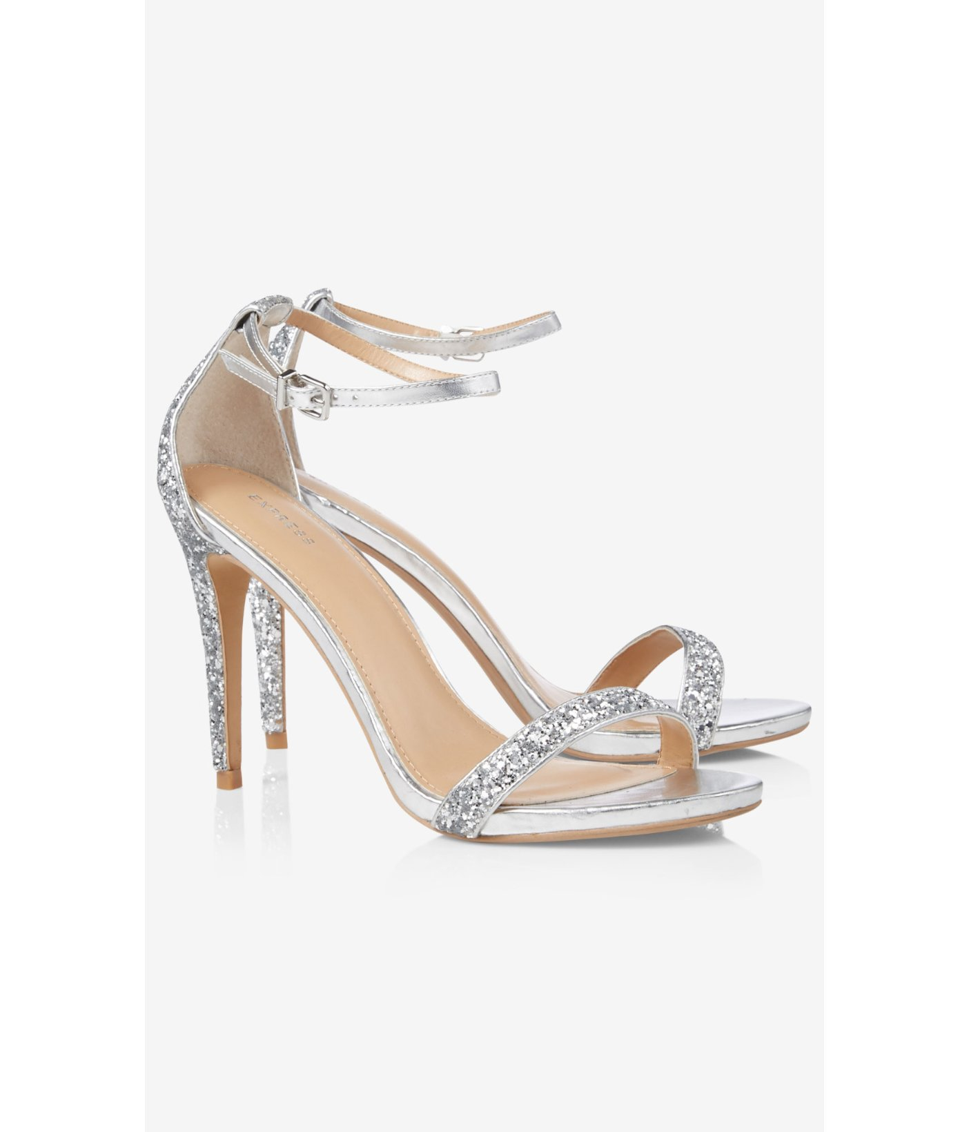 Lyst - Express Silver Glitter Sleek Heeled Sandal in Metallic