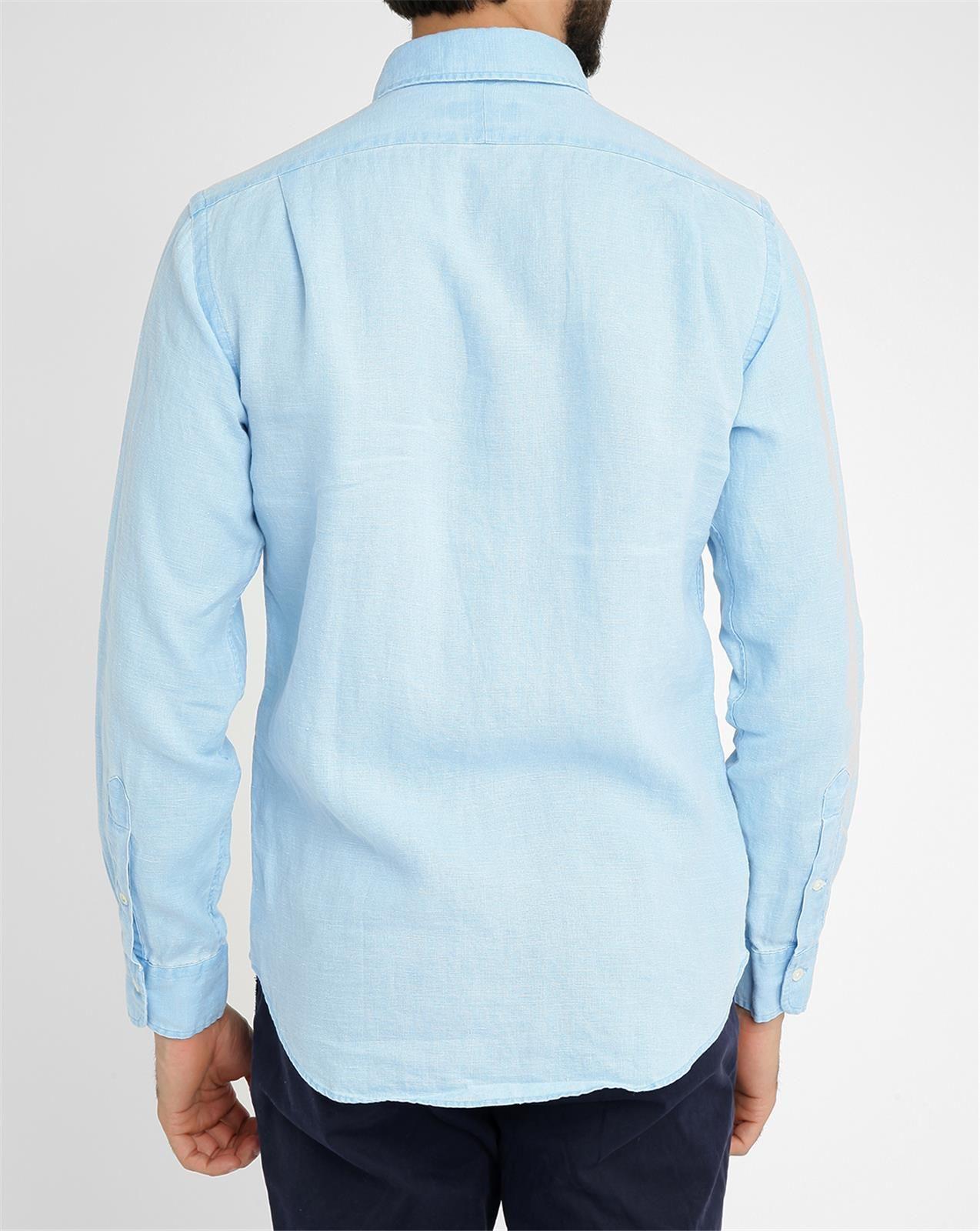 polo ralph lauren sky blue linen slim fit shirt in blue. Black Bedroom Furniture Sets. Home Design Ideas