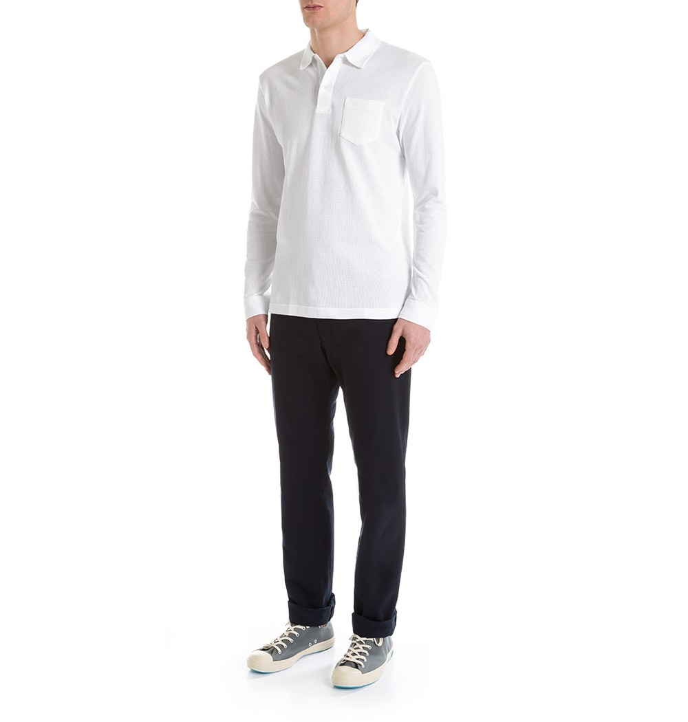 94ecbb91 Sunspel Men's Combed Cotton Long Sleeve Riviera Polo Shirt in White for Men  - Lyst