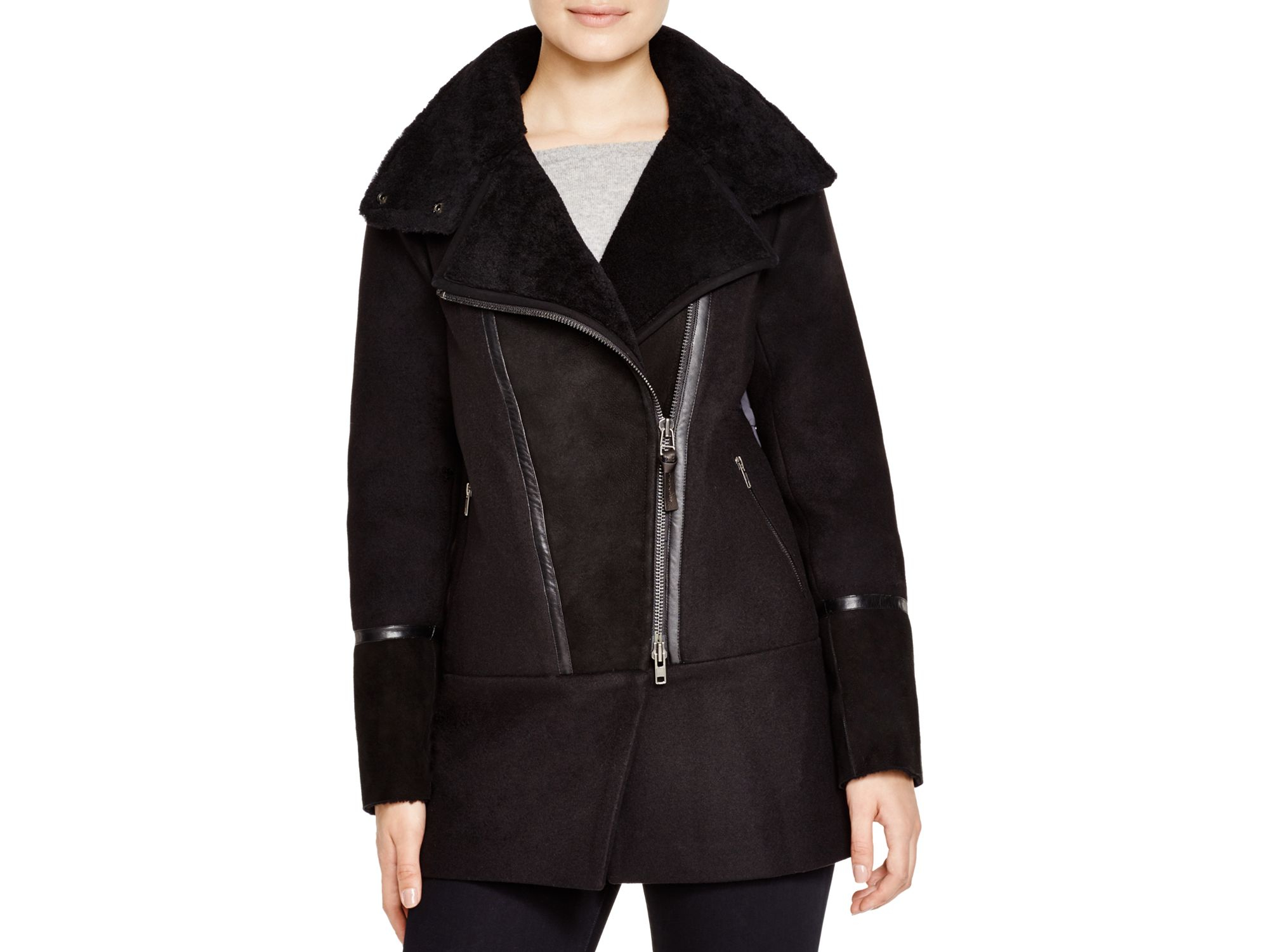 Lyst Mackage Mallory Sheepskin Trim Jacket With Down